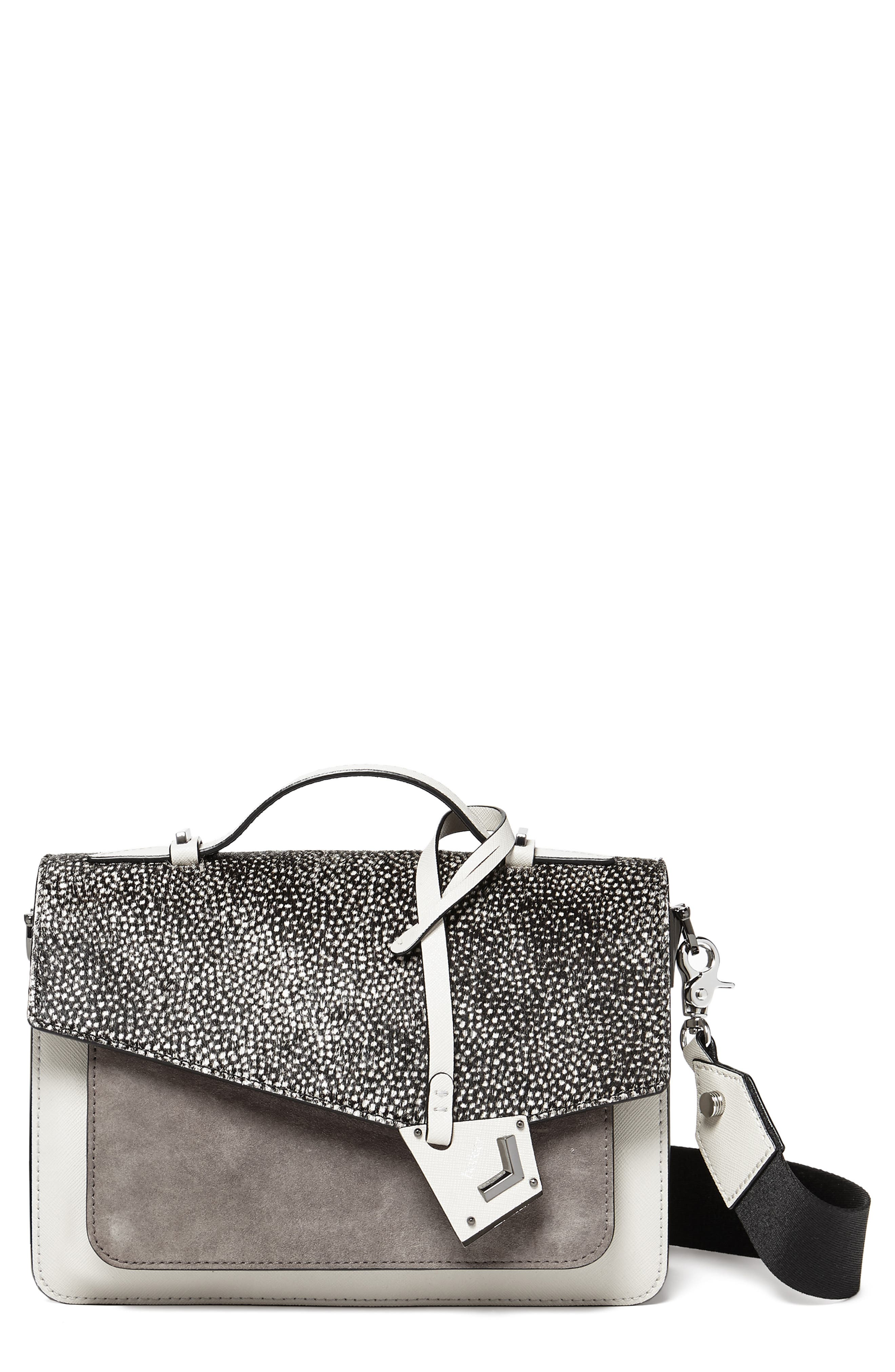 Cobble Hill Medium Printed Calf Hair, Suede & Leather Crossbody in Snow Fur