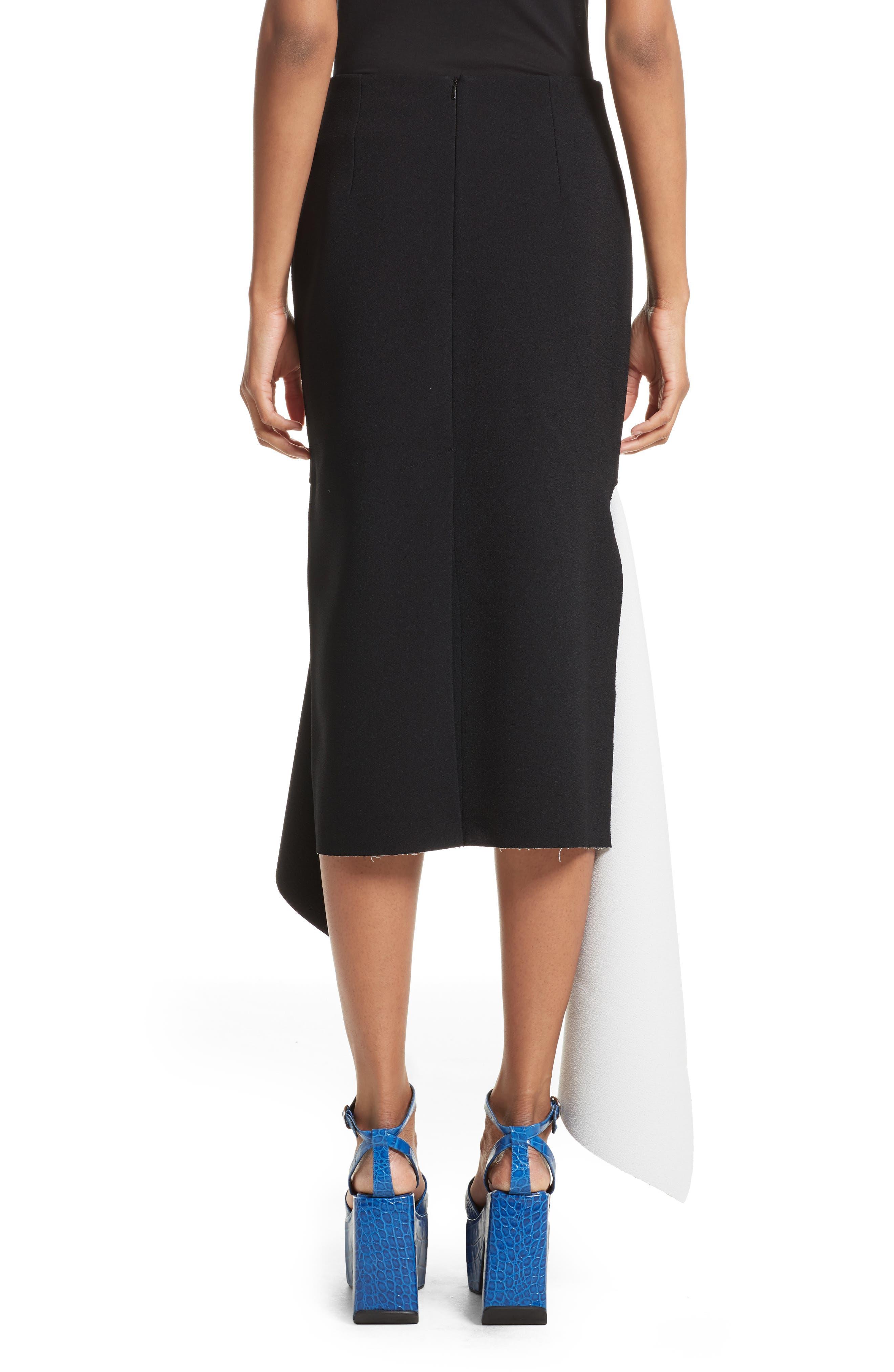 Marques'Almeida Asymmetrical Bicolor Crepe Skirt,                             Alternate thumbnail 2, color,                             003