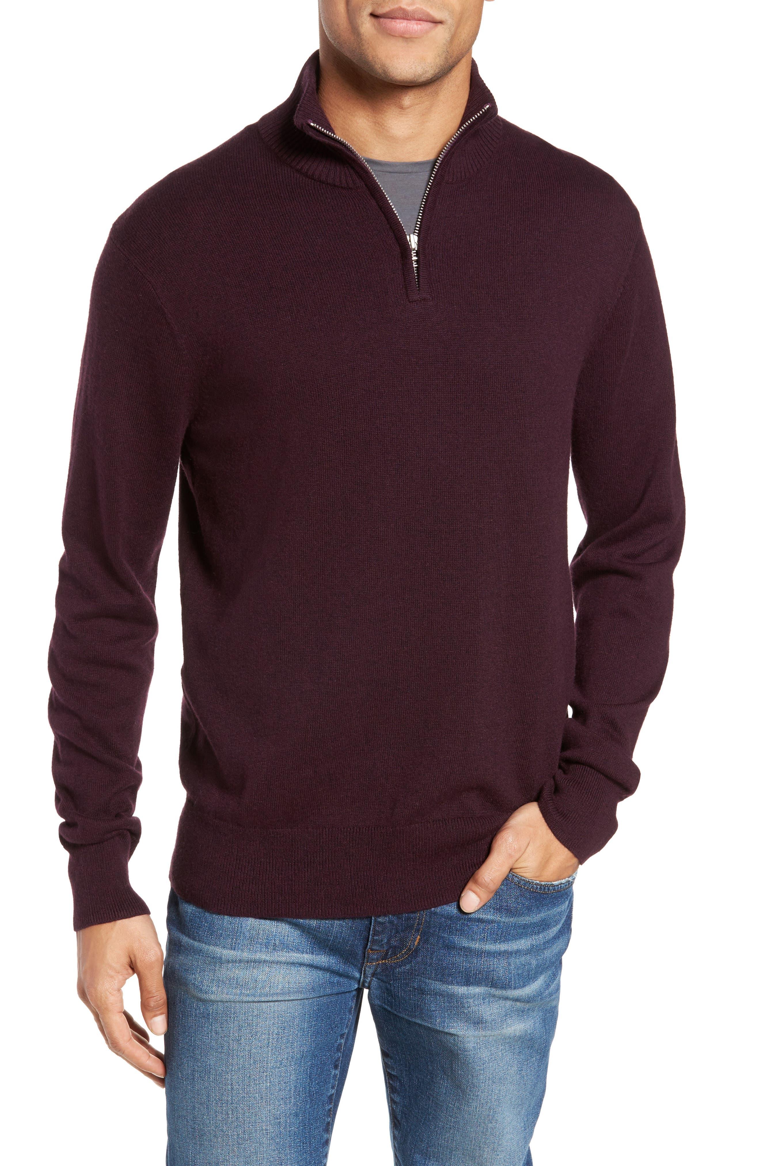 Cotton & Cashmere Quarter Zip Sweater,                             Main thumbnail 1, color,                             600