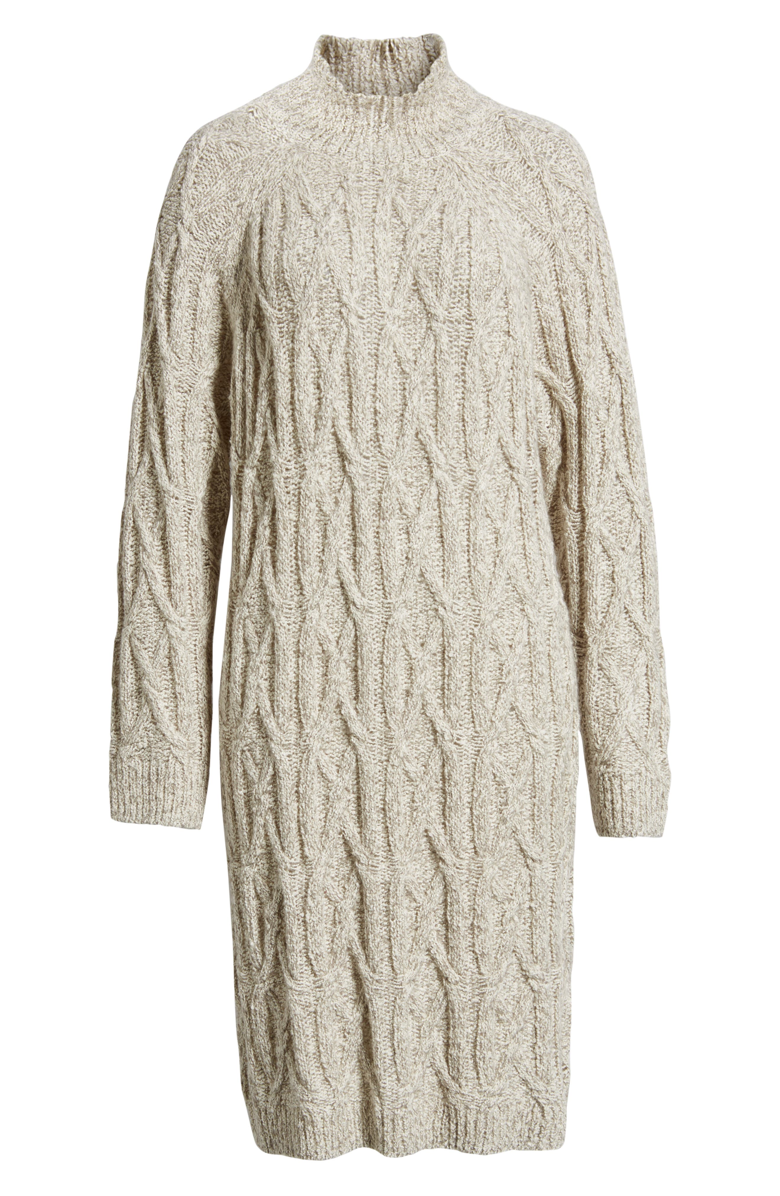 Cable Knit Sweater Dress,                             Alternate thumbnail 7, color,                             GREY PEARL MARL
