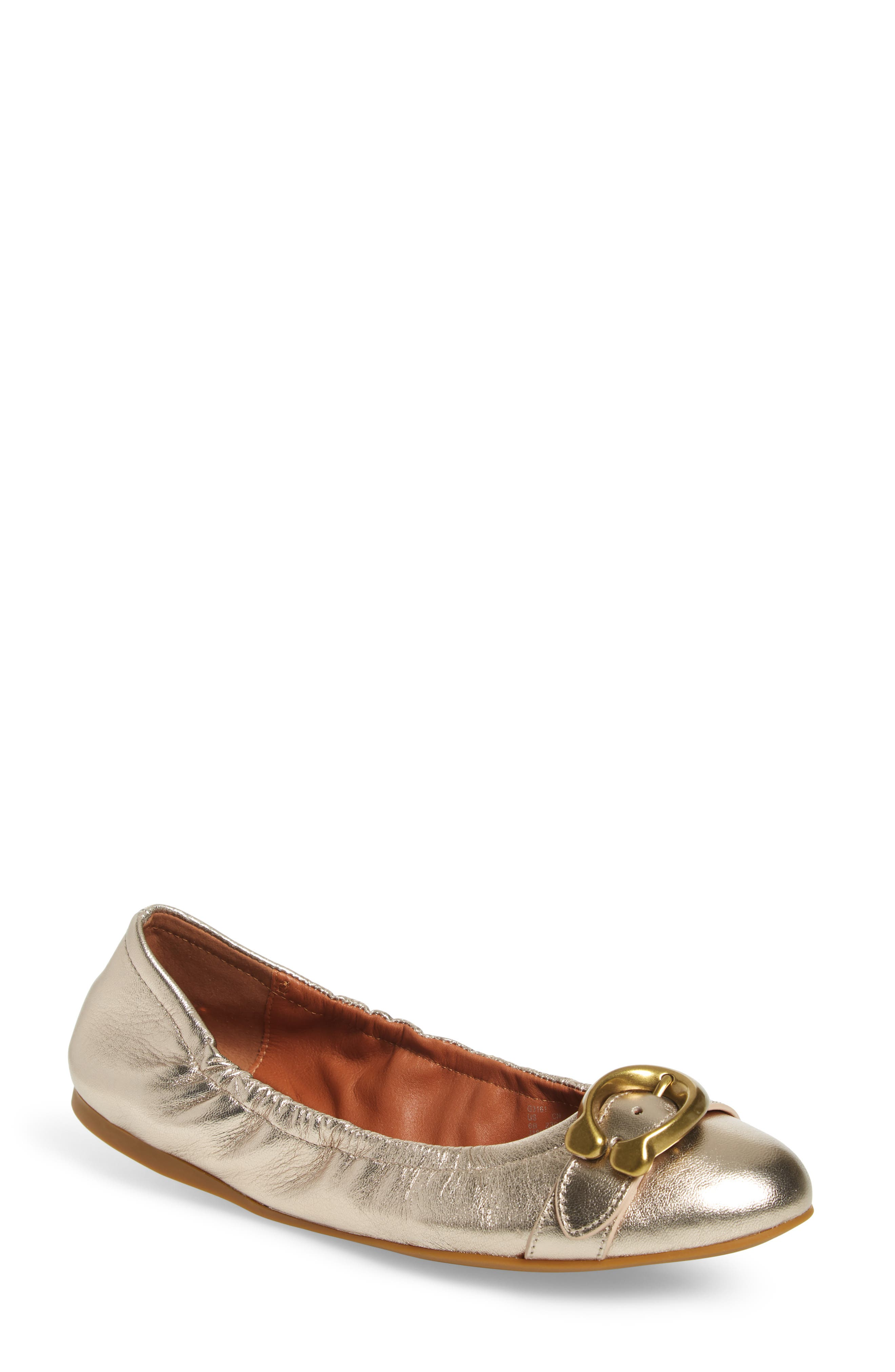 Stanton Buckle Flat,                         Main,                         color, CHAMPAGNE METALLIC LEATHER