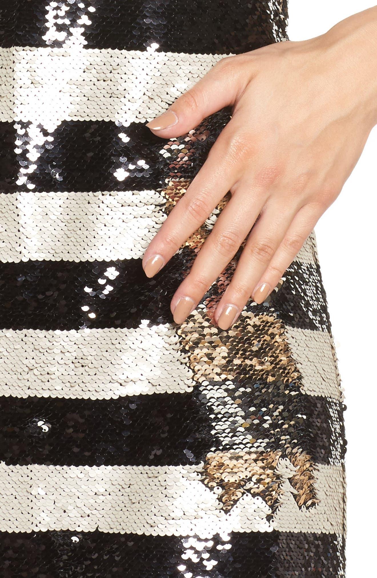 Reversible Stripe Sequin Shift Dress,                             Alternate thumbnail 4, color,                             006