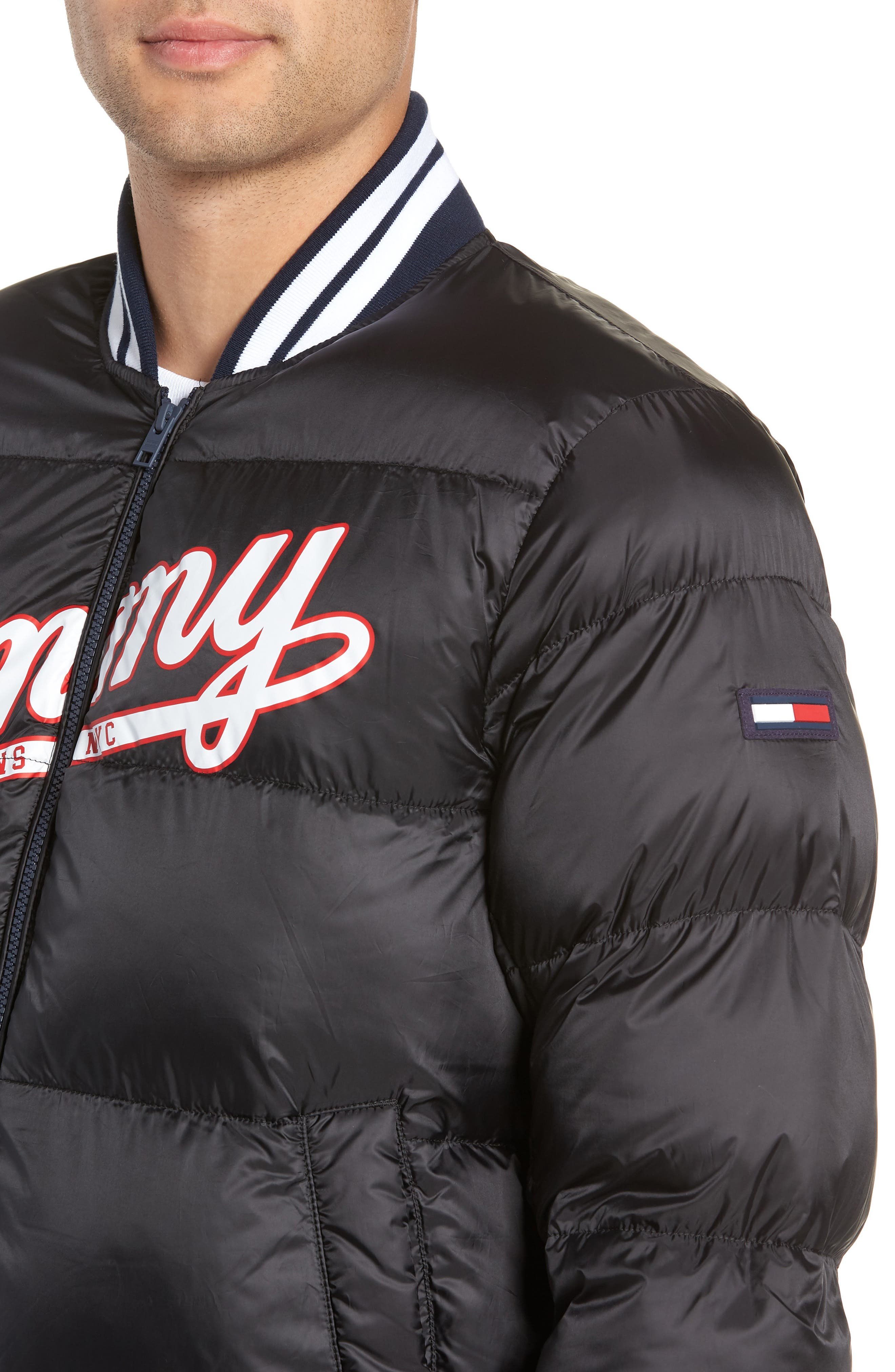 Varsity Jacket,                             Alternate thumbnail 4, color,                             TOMMY BLACK