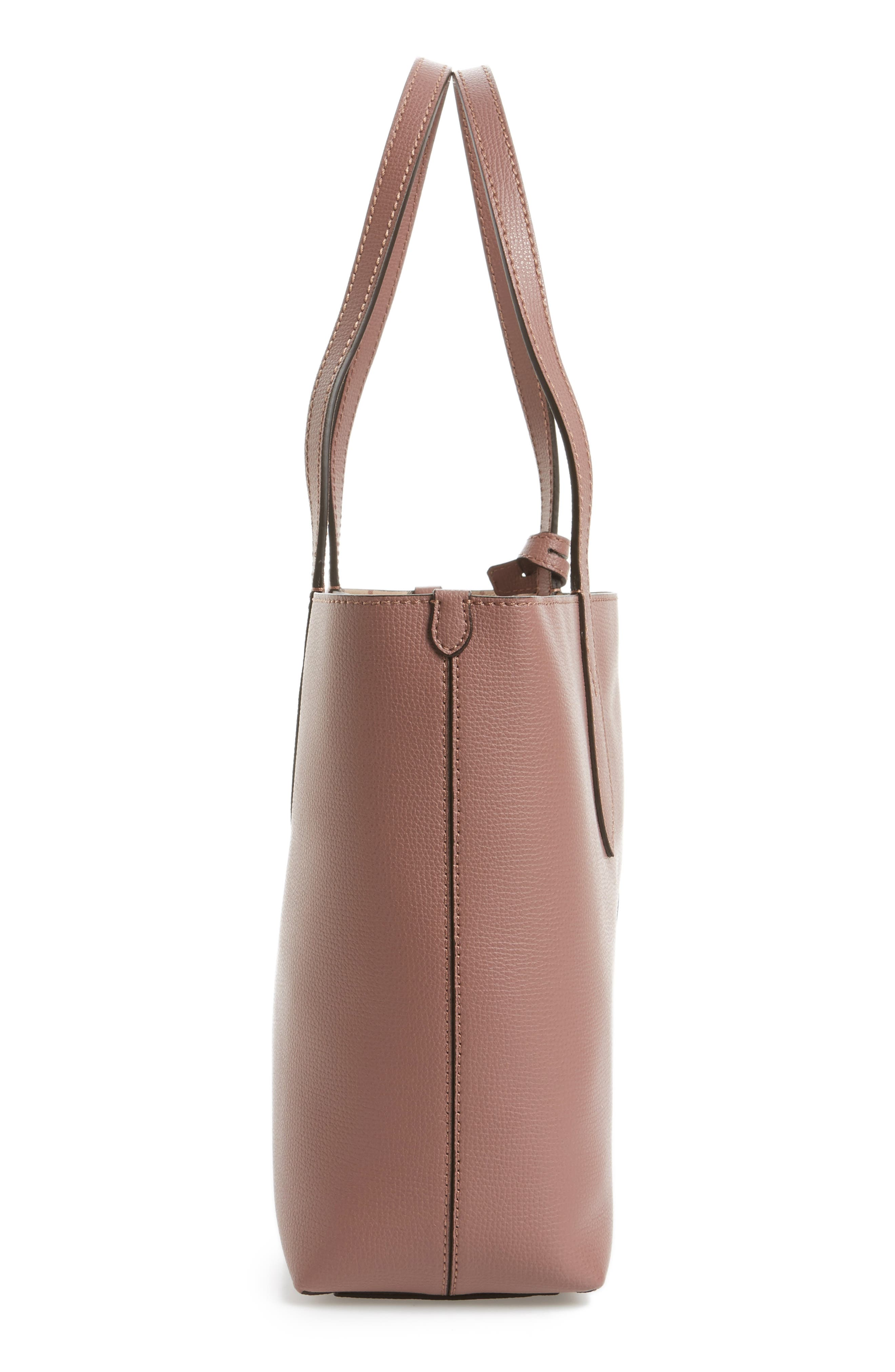 Small Reversible Haymarket Check & Leather Tote,                             Alternate thumbnail 5, color,                             512