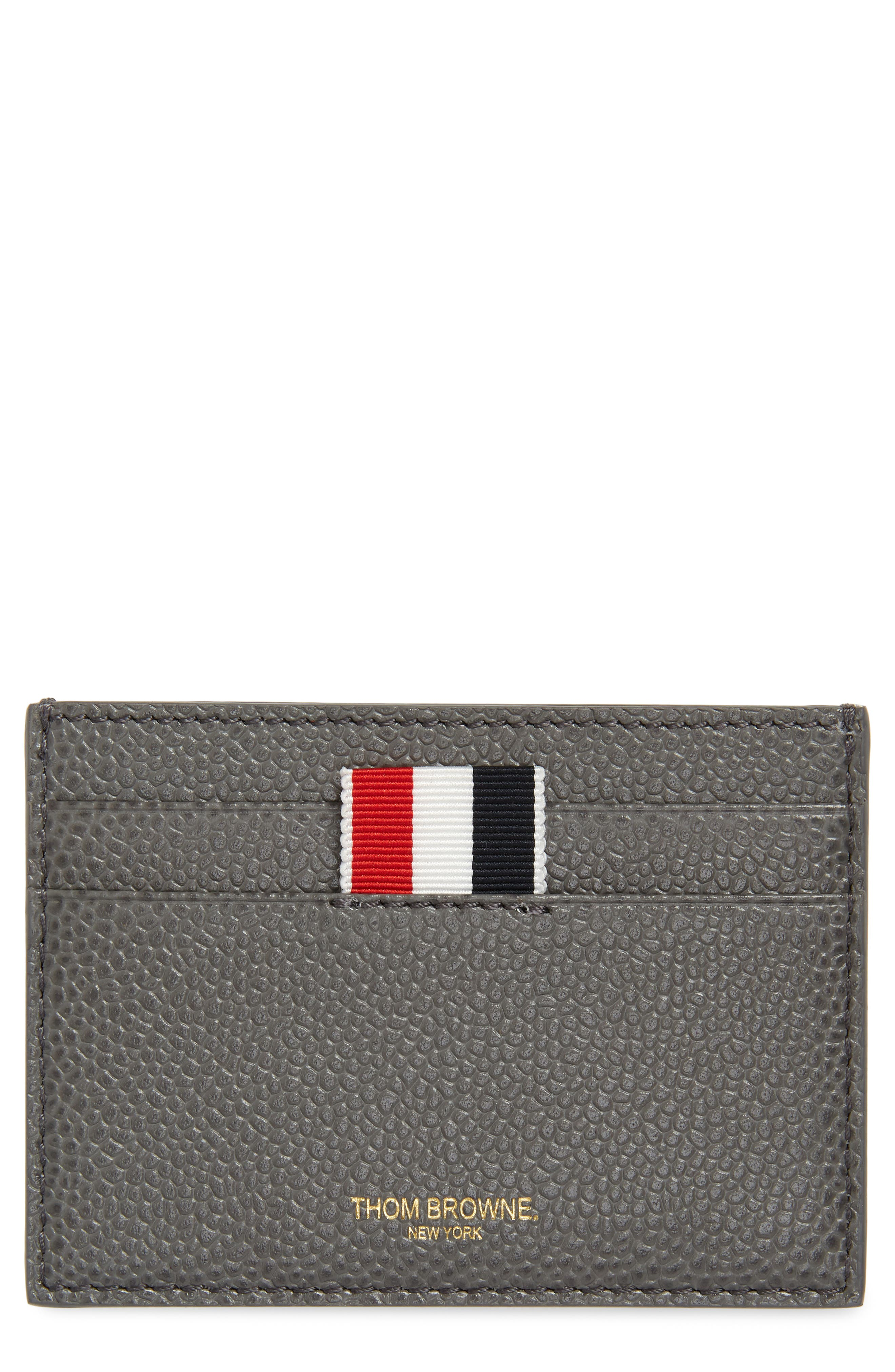 Stripe Leather Card Holder,                         Main,                         color, 025