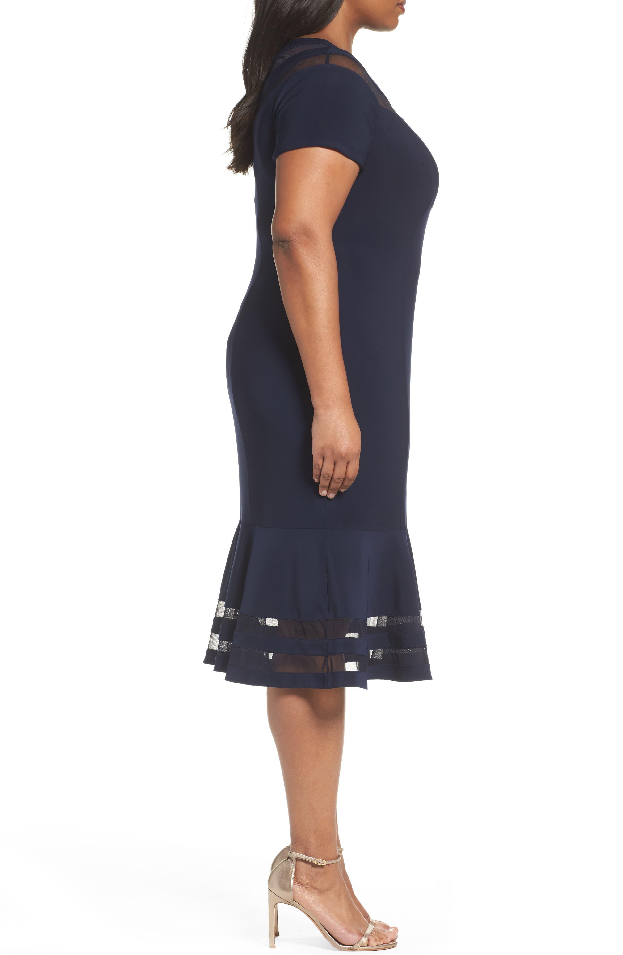 Shadow Stripe Flounce Hem Midi Dress,                             Alternate thumbnail 3, color,                             400
