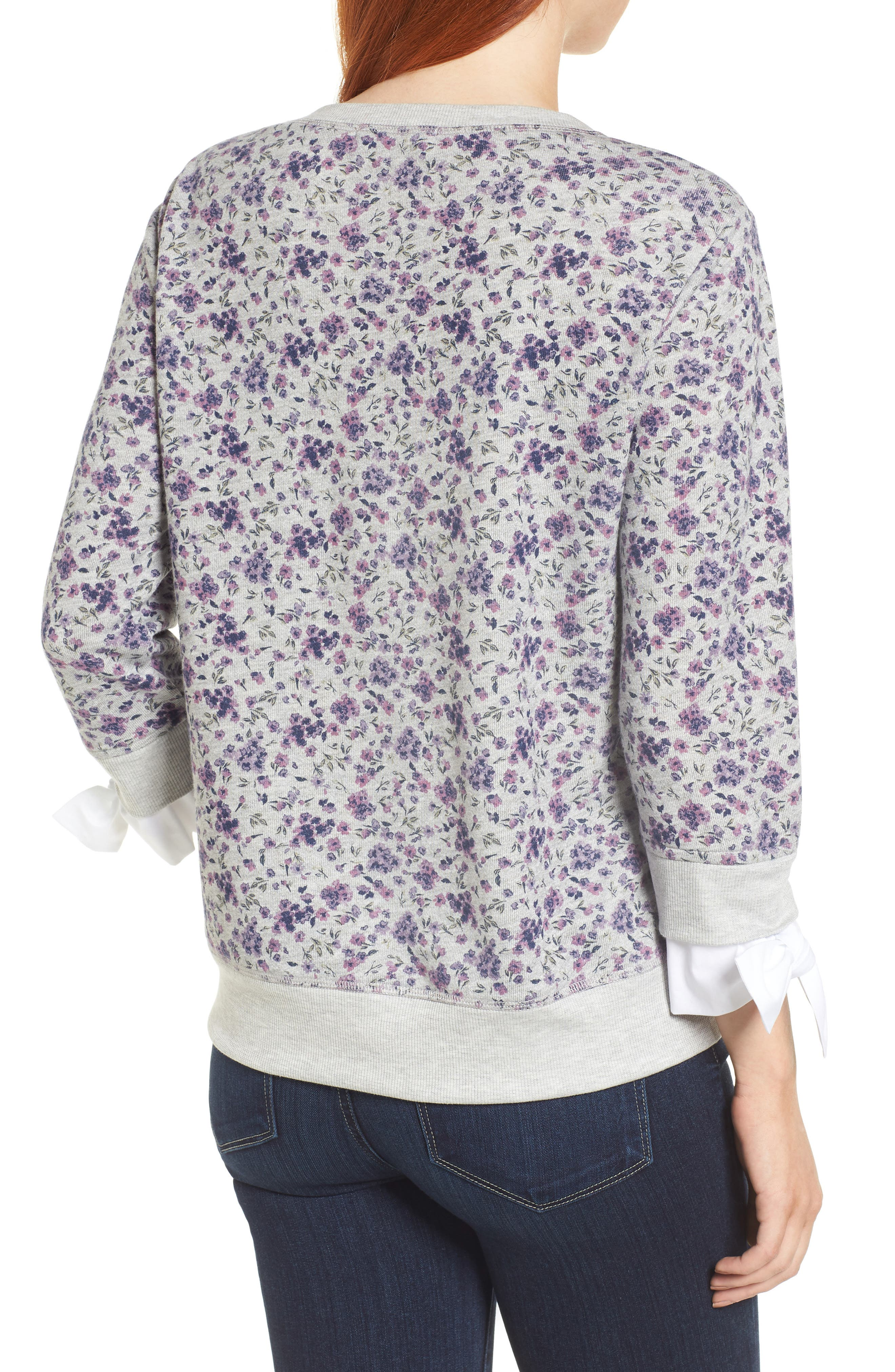 Poplin Cuff Sweatshirt,                             Alternate thumbnail 2, color,                             GREY FLORAL W/ WHITE POPLIN