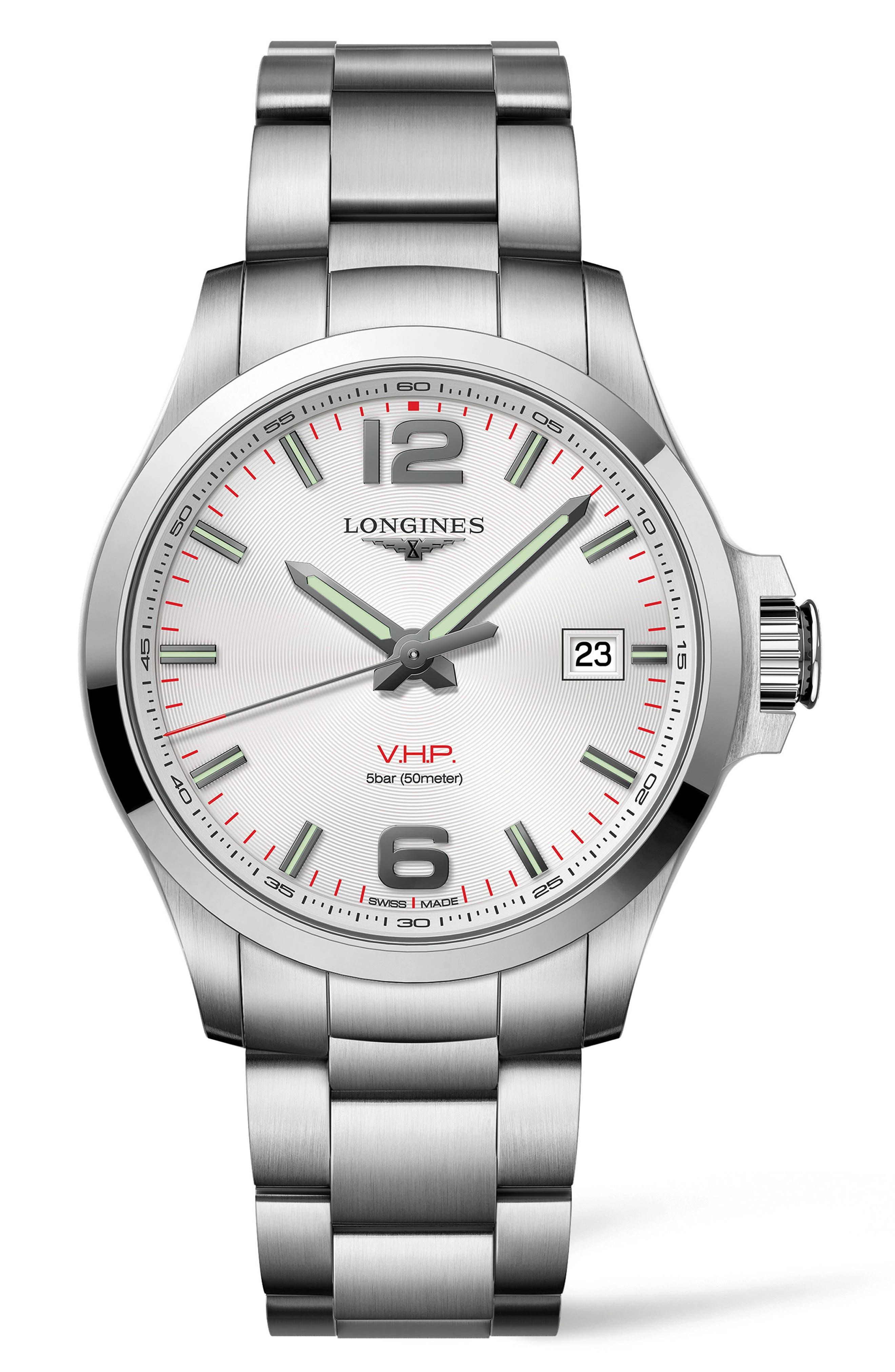 Conquest VHP Bracelet Watch, 43mm,                         Main,                         color, SILVER