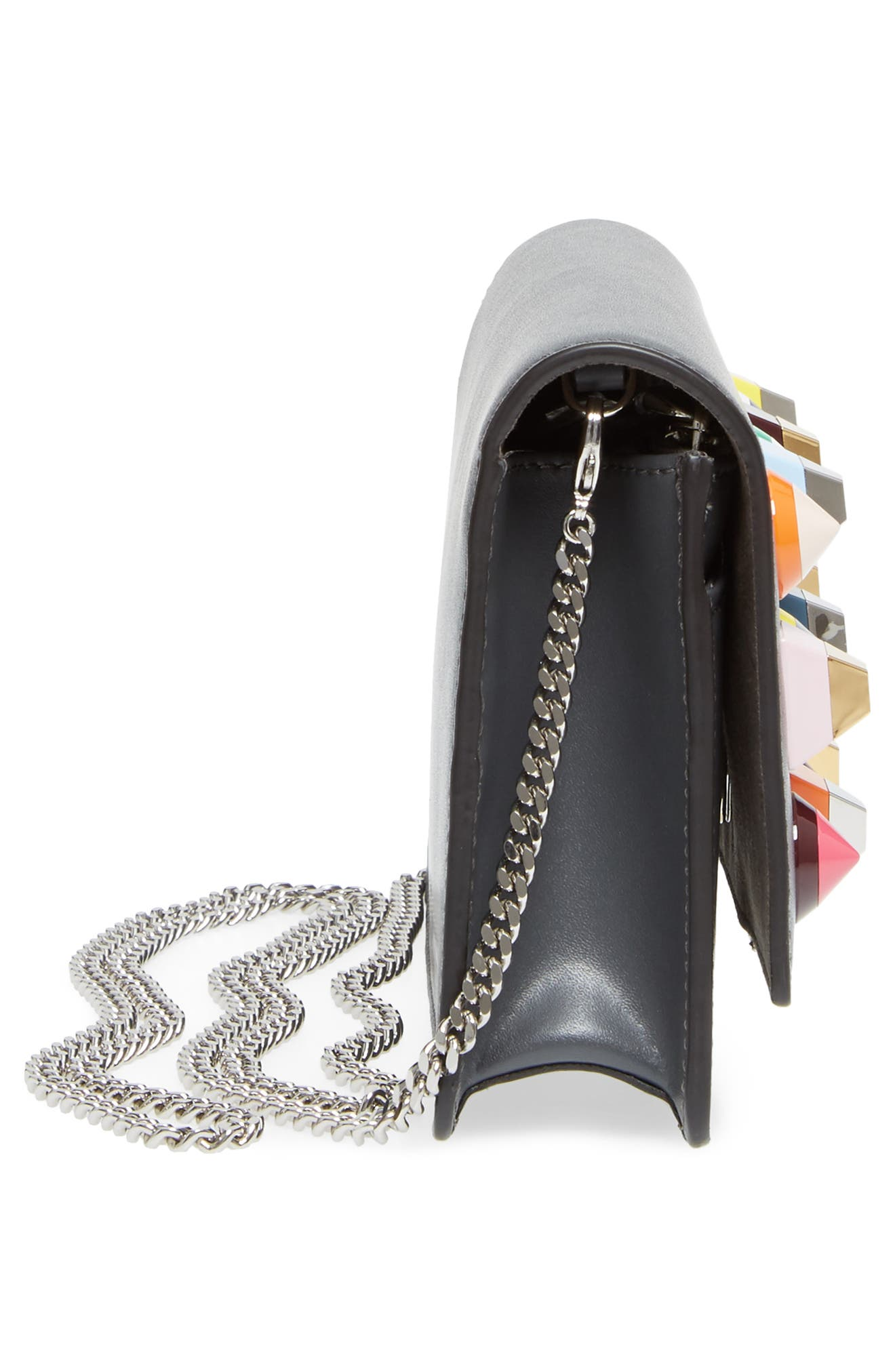 Rainbow Studded Leather Tube Wallet on a Chain,                             Alternate thumbnail 5, color,                             086