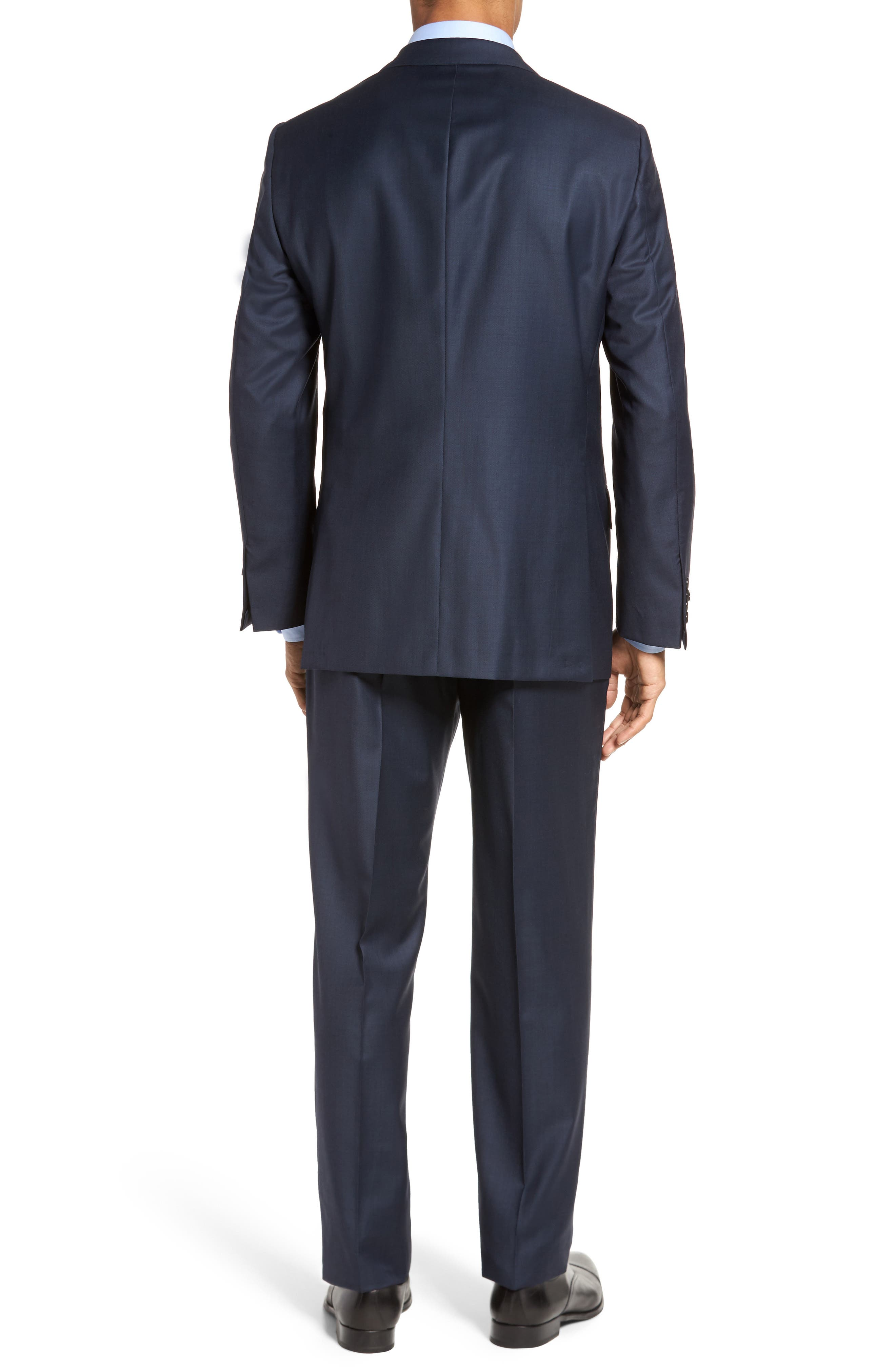 Classic B Fit Solid Loro Piana Wool Suit,                             Alternate thumbnail 2, color,                             NAVY SHARKSKIN