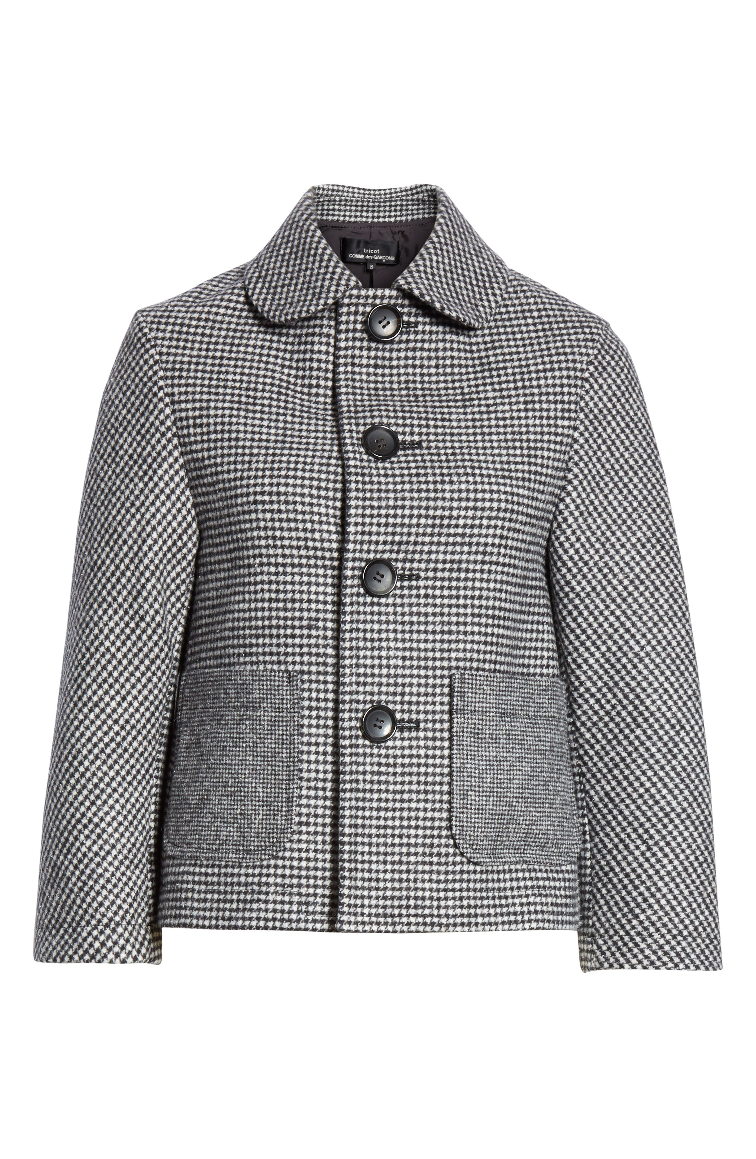 Houndstooth Crop Jacket,                             Alternate thumbnail 5, color,                             LARGE X SMALL