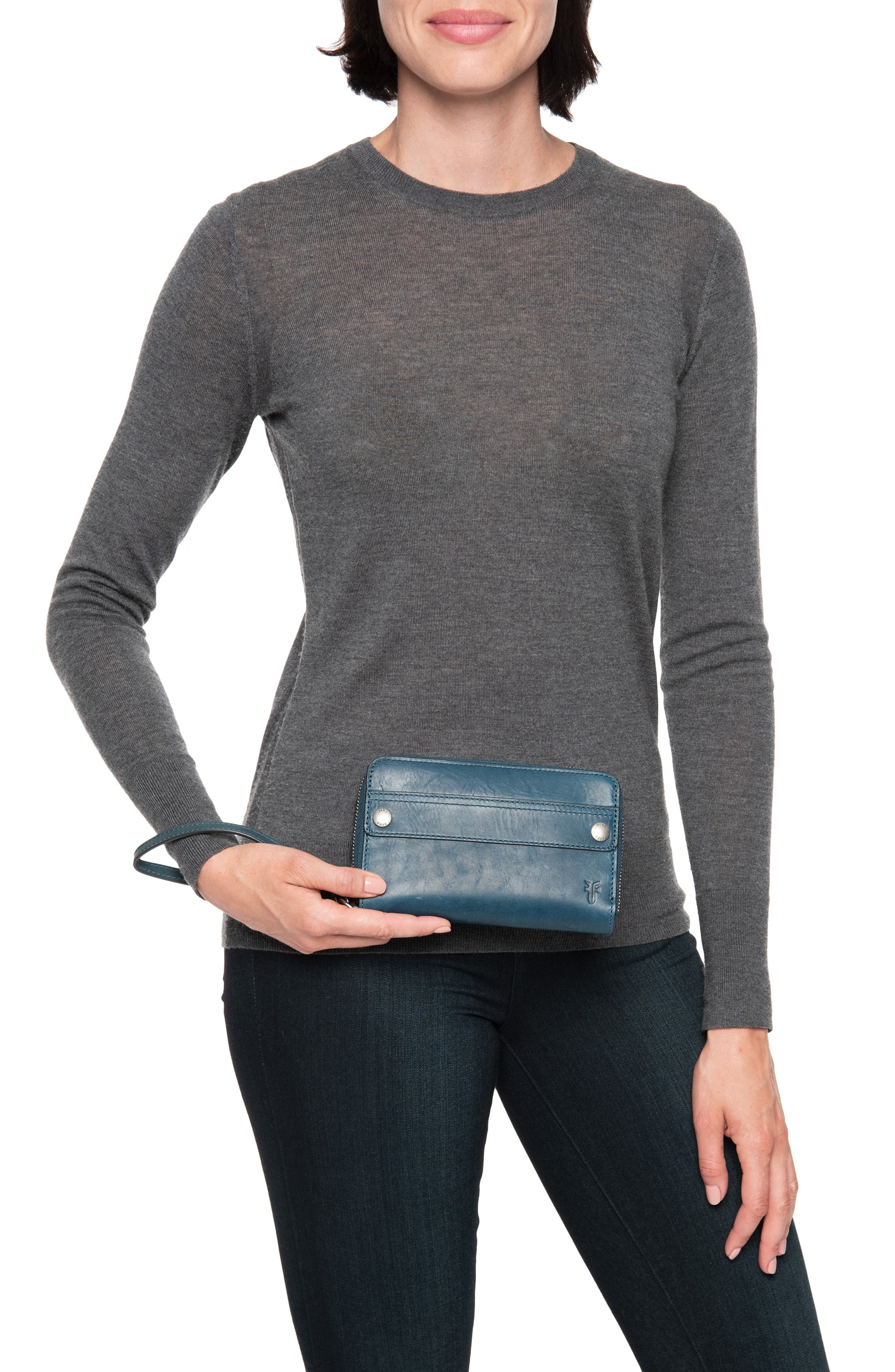 Melissa Large Leather Phone Wallet,                             Alternate thumbnail 2, color,                             PEACOCK