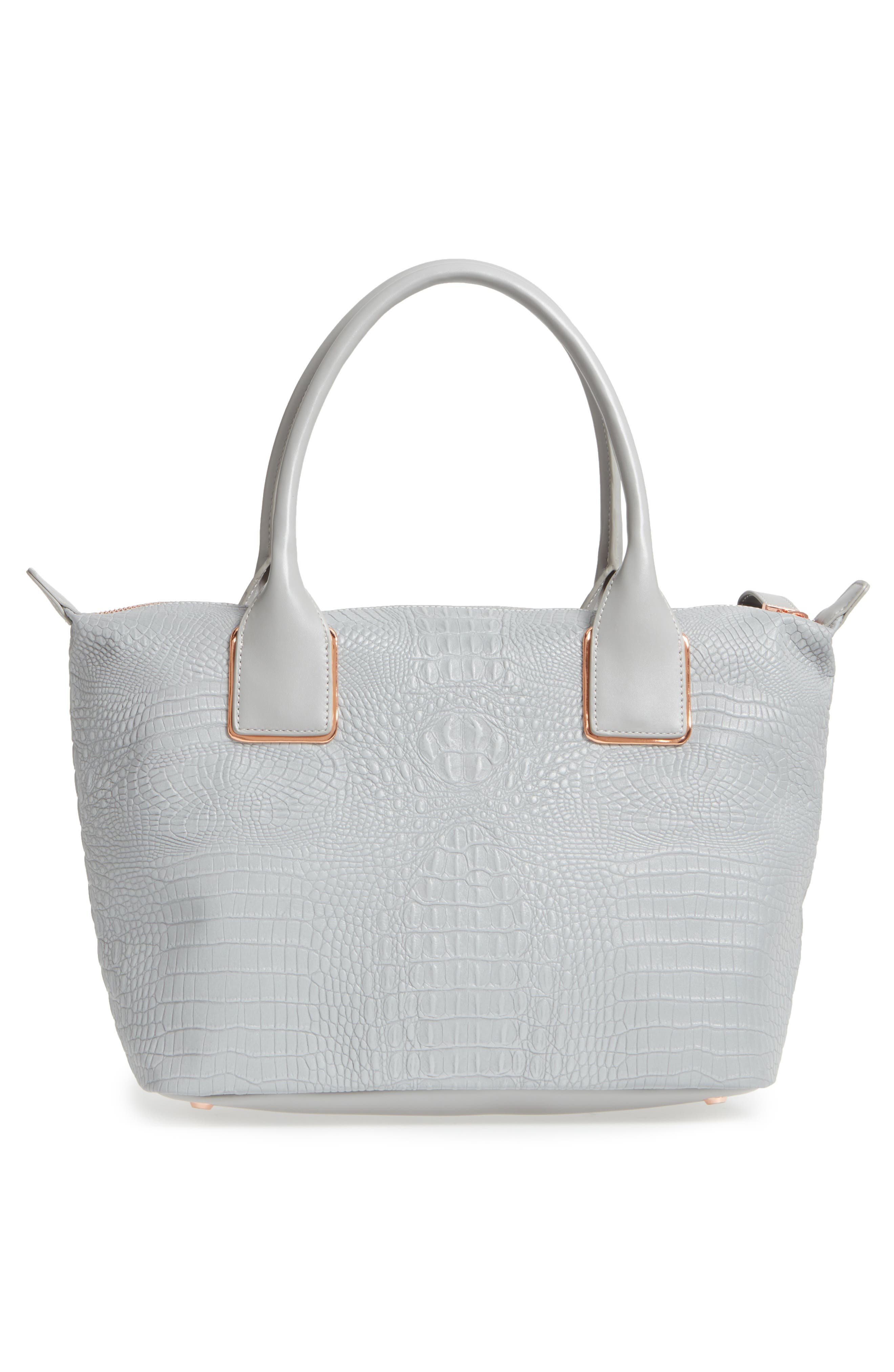Remus Reflective Croc Embossed Faux Leather Tote,                             Alternate thumbnail 3, color,