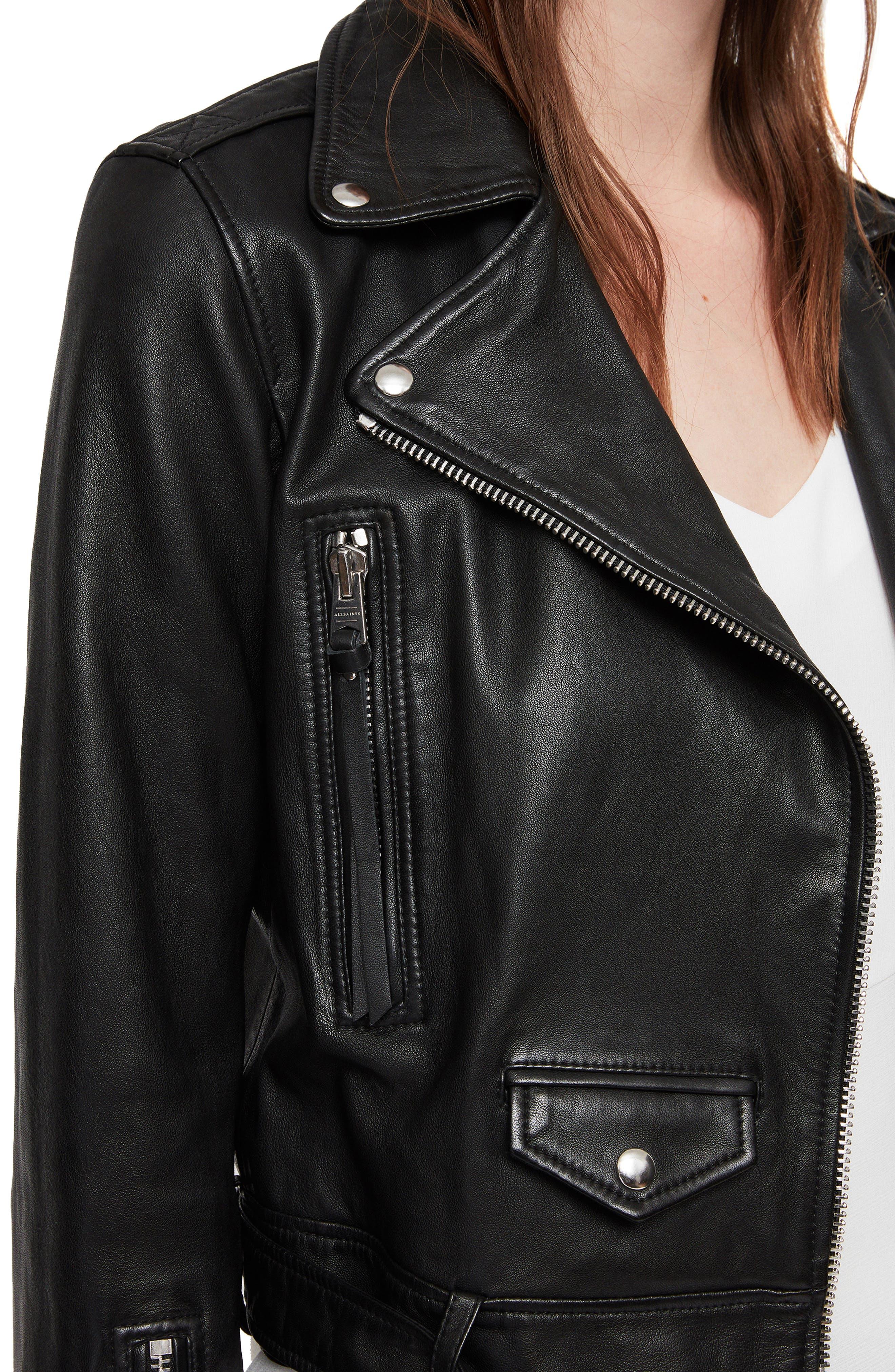 Juno Leather Biker Jacket,                             Alternate thumbnail 4, color,                             BLACK
