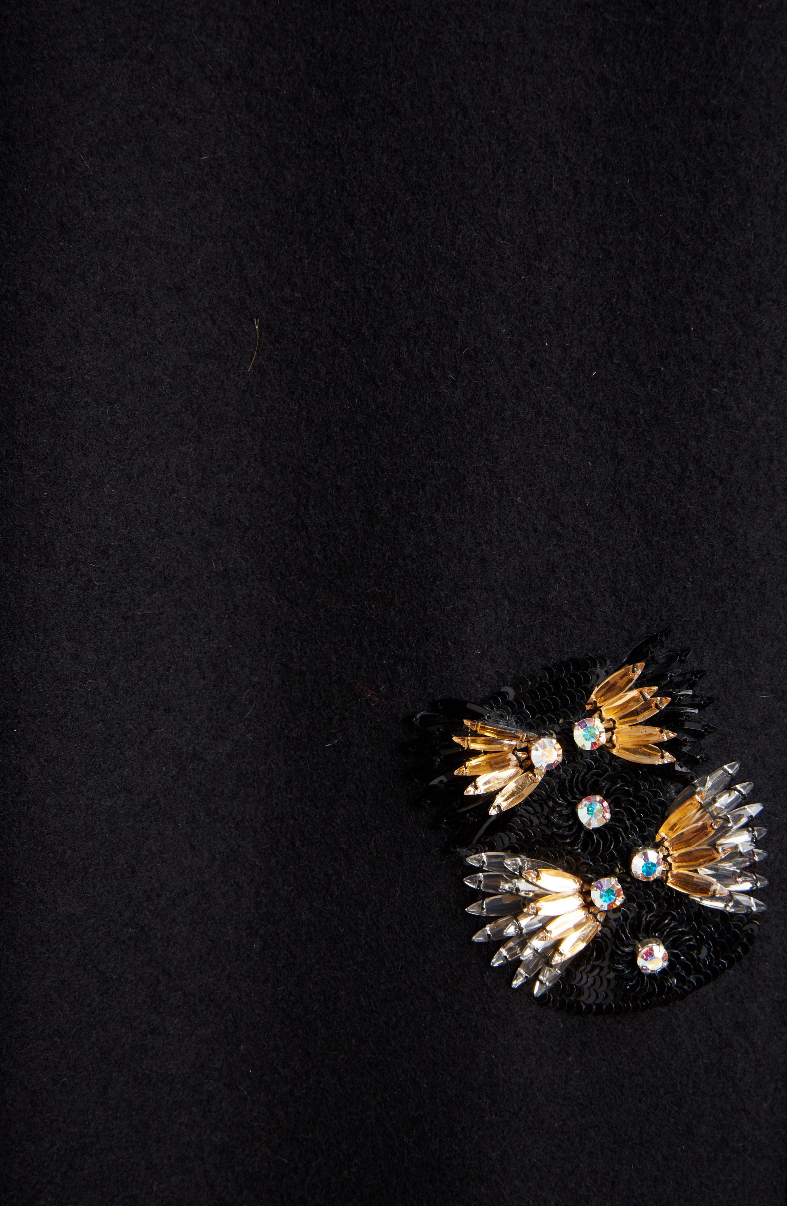 Embellished Wool Blend Coat,                             Alternate thumbnail 5, color,                             BLACK