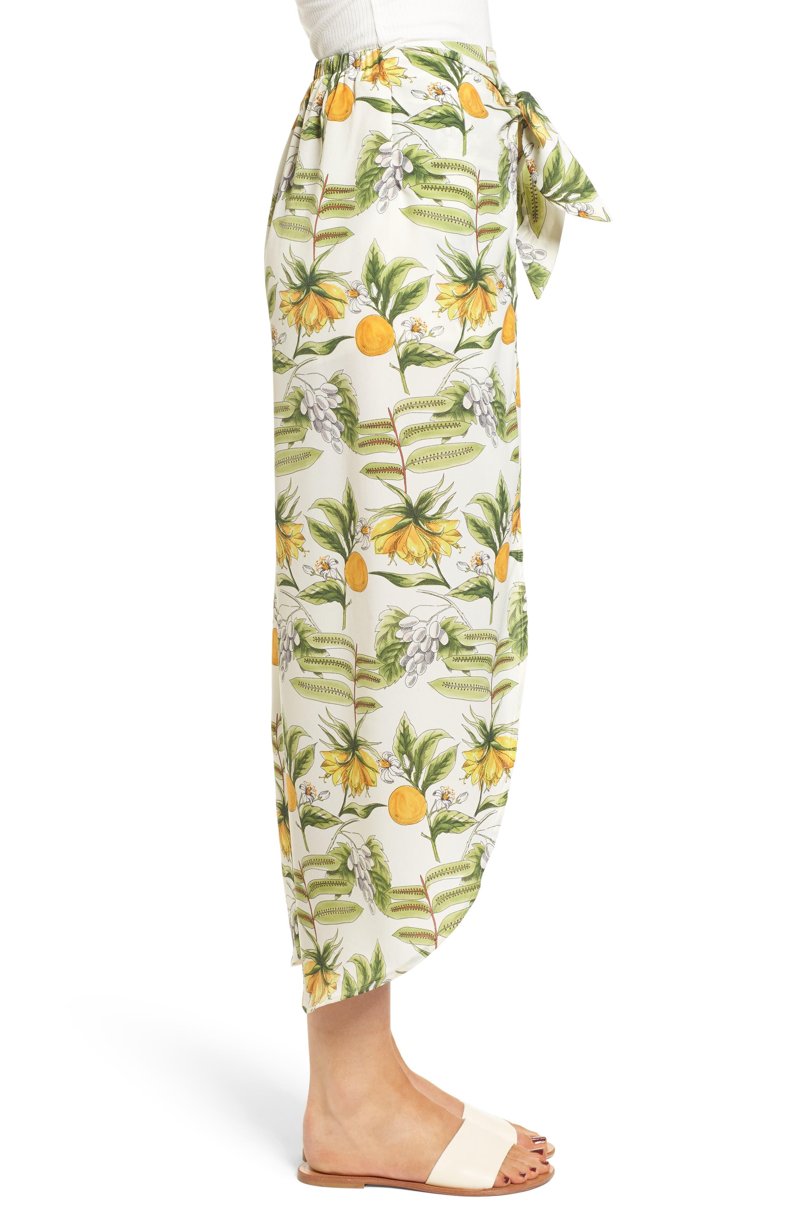 Limonada Citrus Print Split Culottes,                             Alternate thumbnail 3, color,                             901