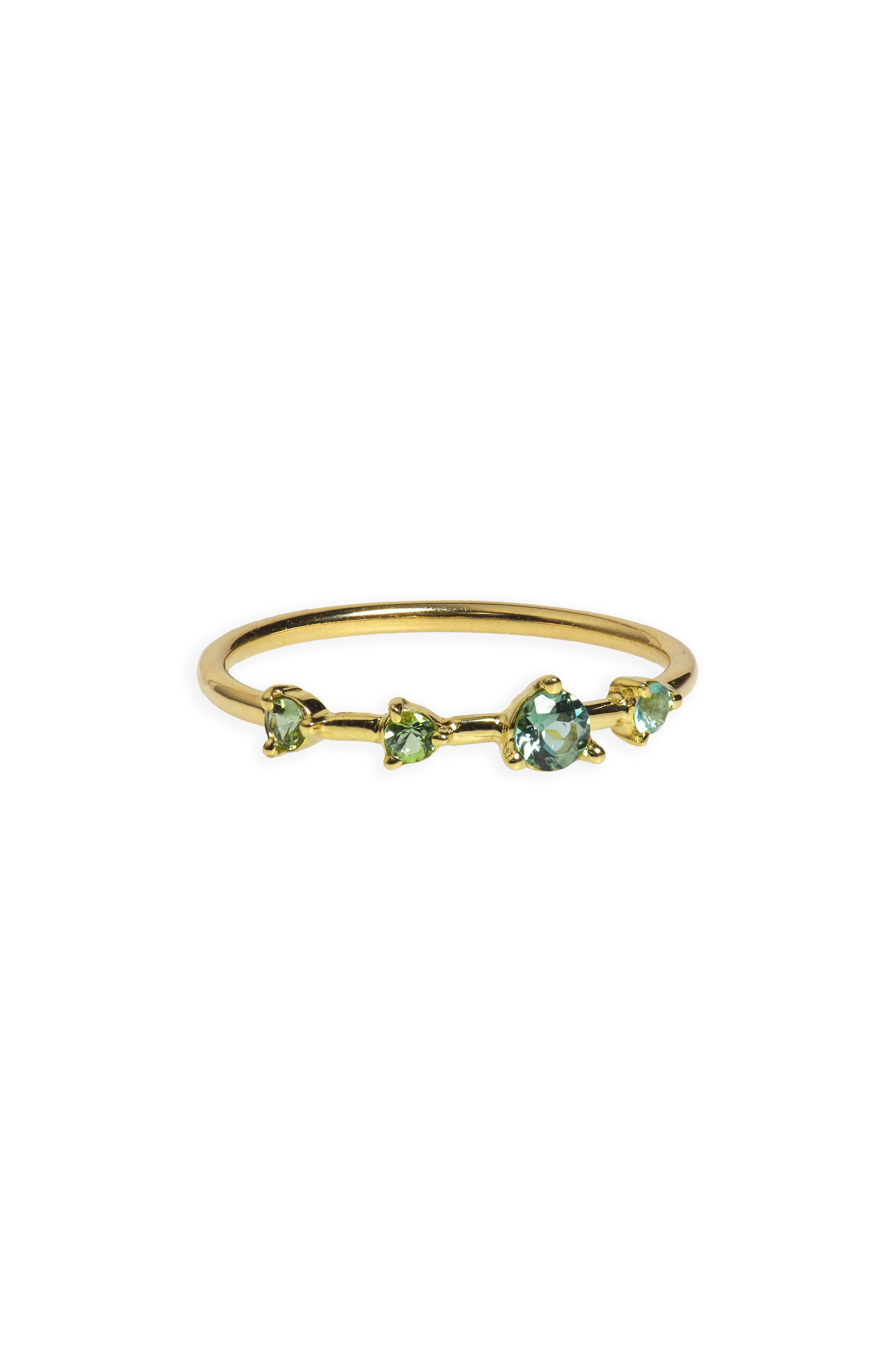 Counting Collection Four-Step Ring,                         Main,                         color, GOLD/ GREEN