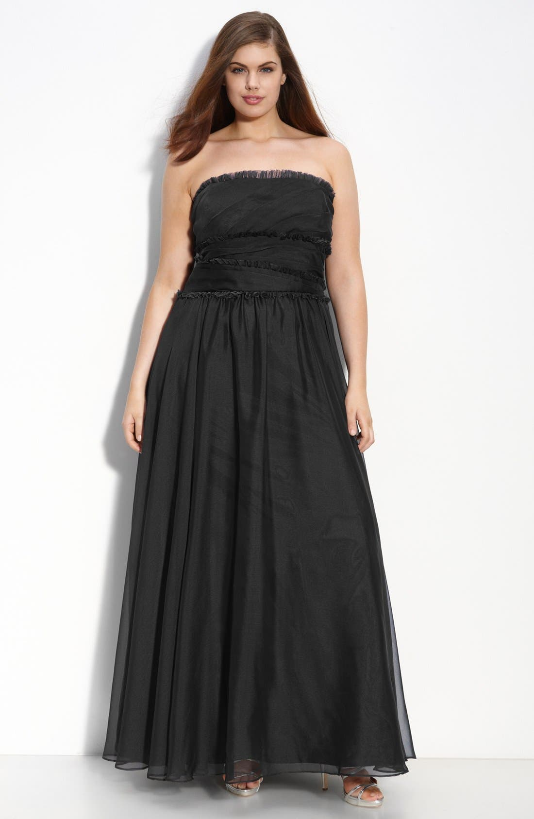ML Monique Lhuillier Bridesmaids Strapless Chiffon Gown,                             Alternate thumbnail 18, color,