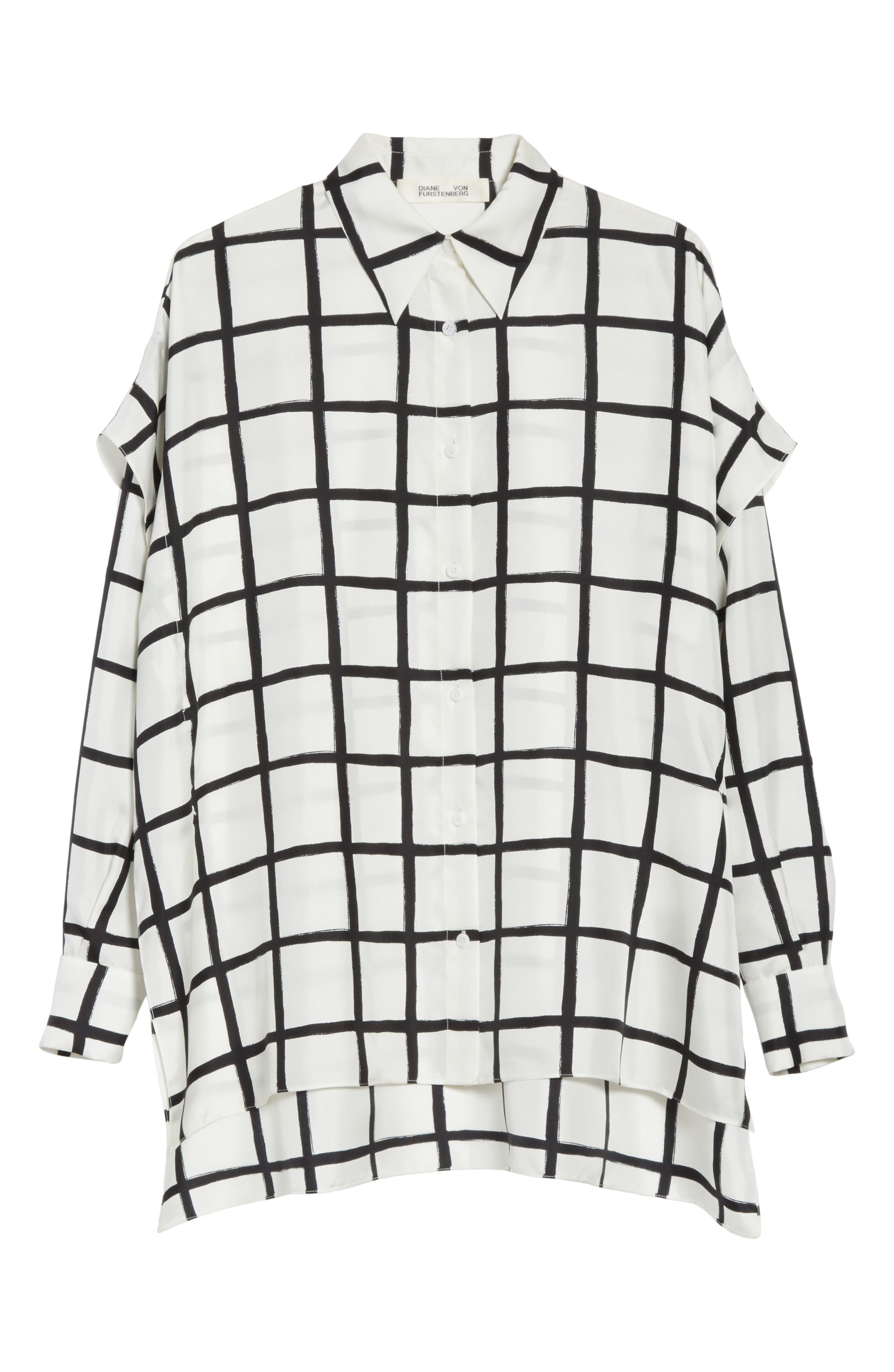 Diane von Furstenberg Windowpane Plaid Button Down Silk Shirt,                             Alternate thumbnail 6, color,                             178