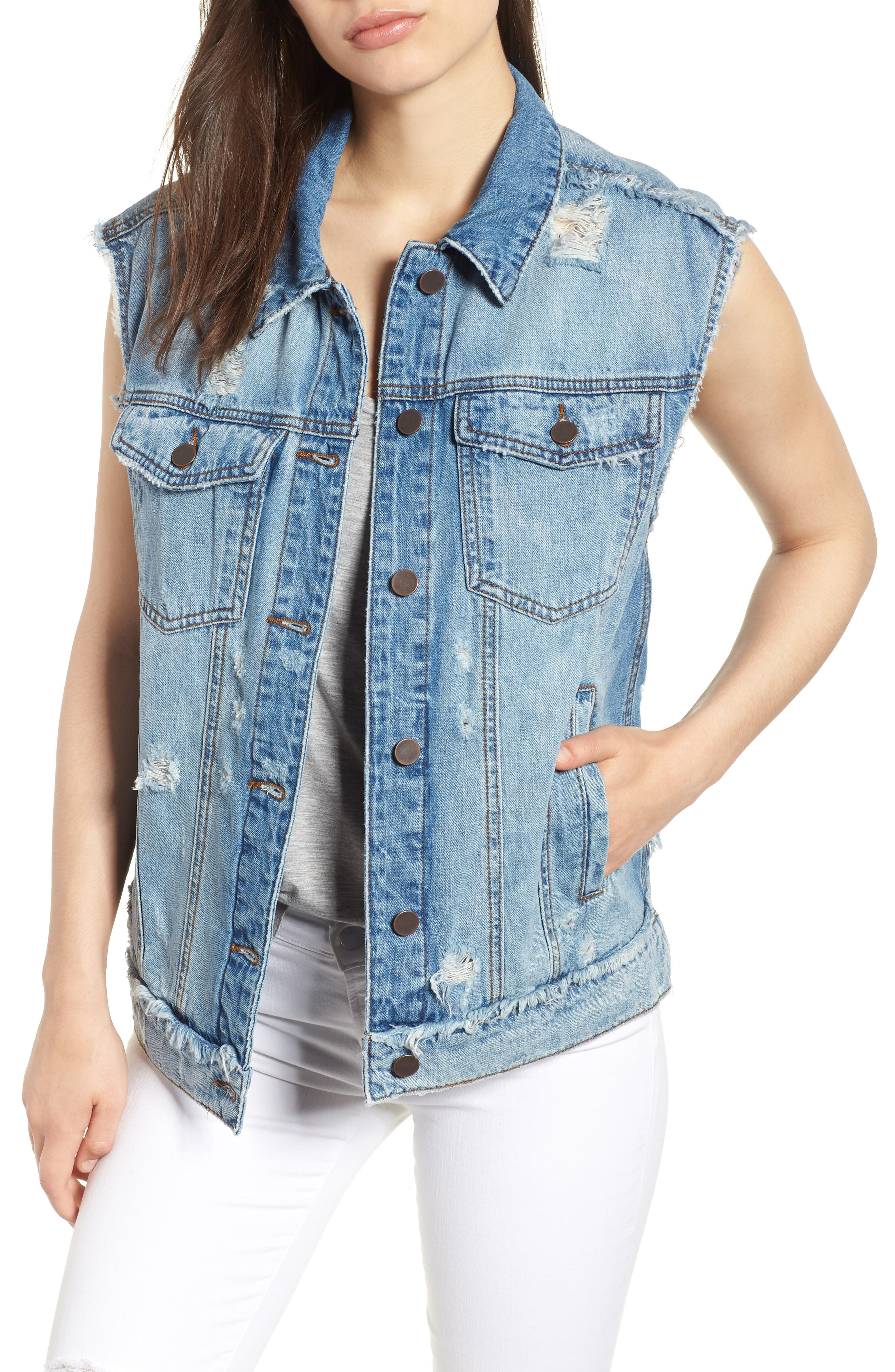 KUT from the Kloth Denim Vest,                         Main,                         color, AUGMENTED