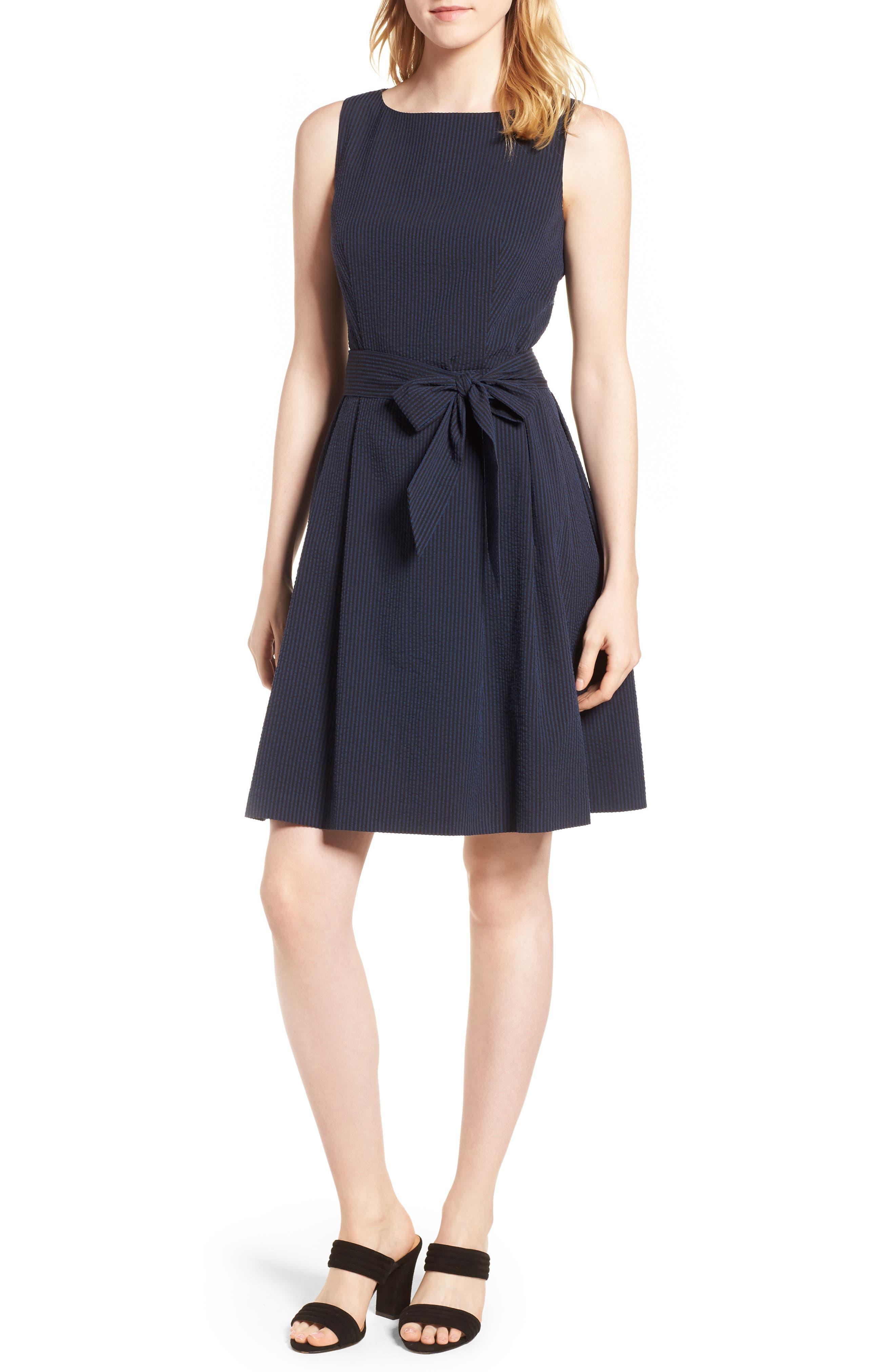 Seersucker Fit & Flare Dress,                         Main,                         color, 400