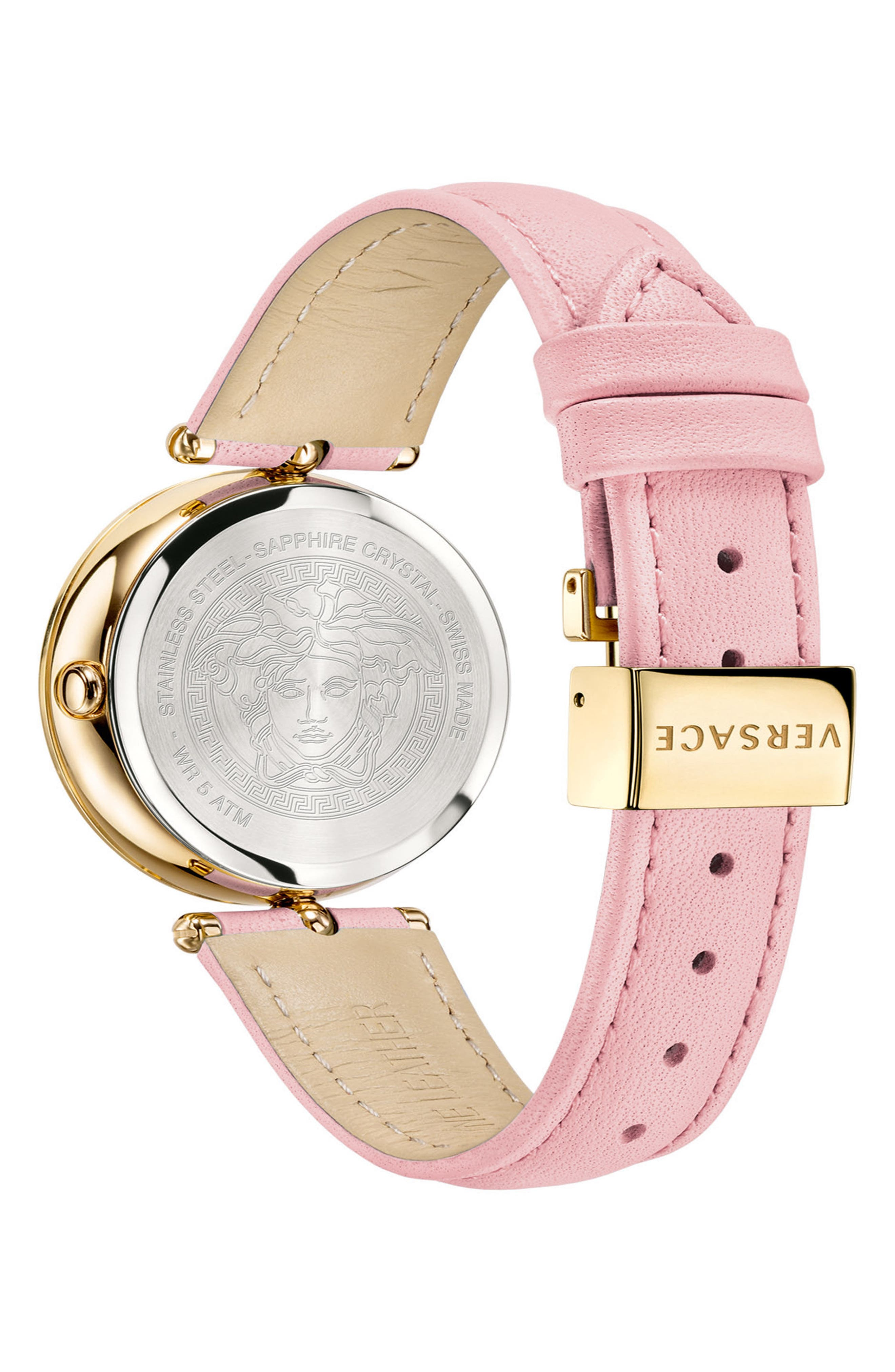 Palazzo Empire Leather Strap Watch, 34mm,                             Alternate thumbnail 2, color,                             PINK/ GOLD