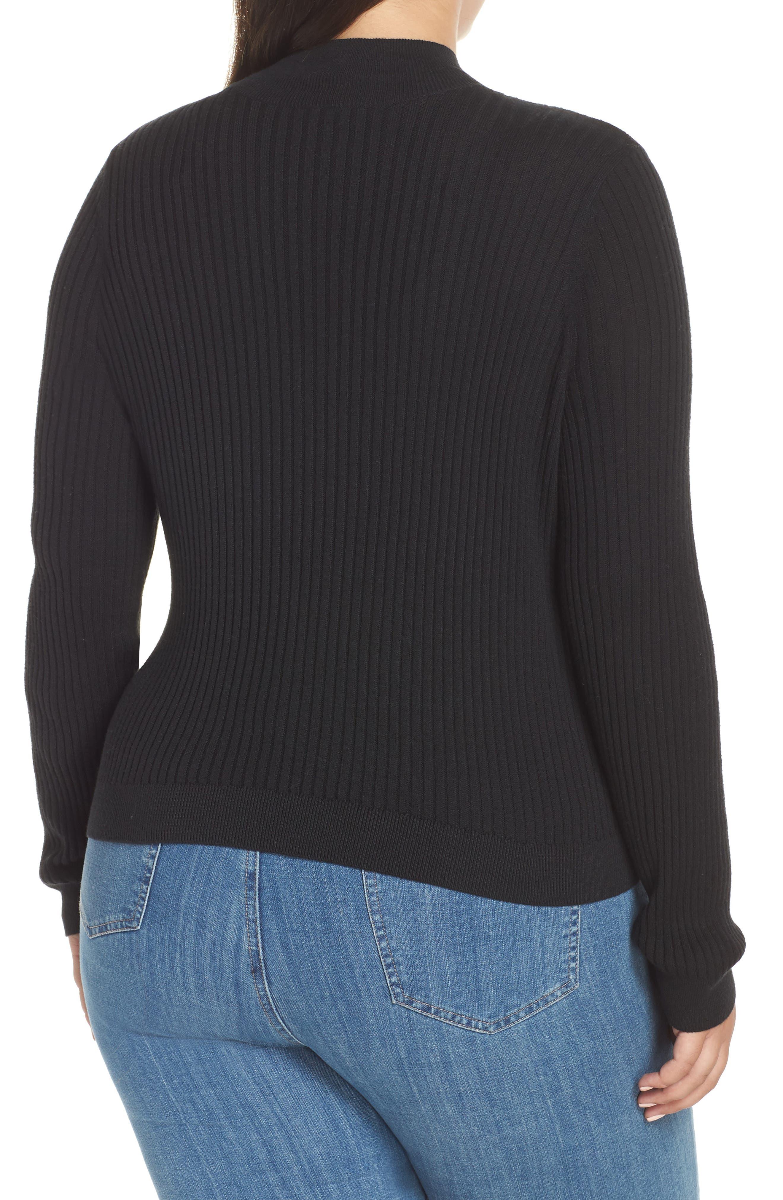 Rib Knit Mock Neck Sweater,                             Alternate thumbnail 2, color,                             BLACK