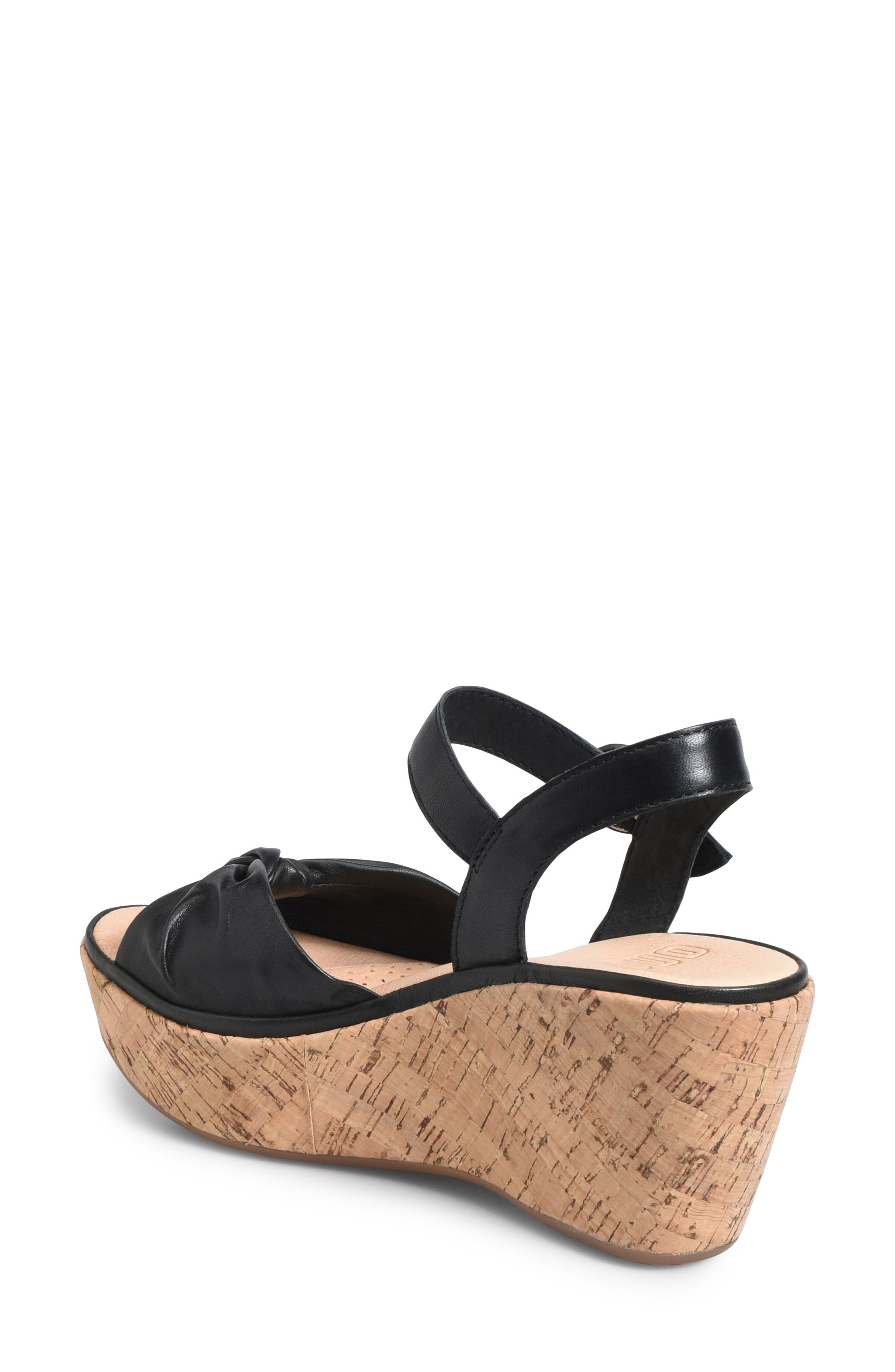 Heavenly Platform Wedge Sandal,                             Alternate thumbnail 2, color,                             BLACK LEATHER