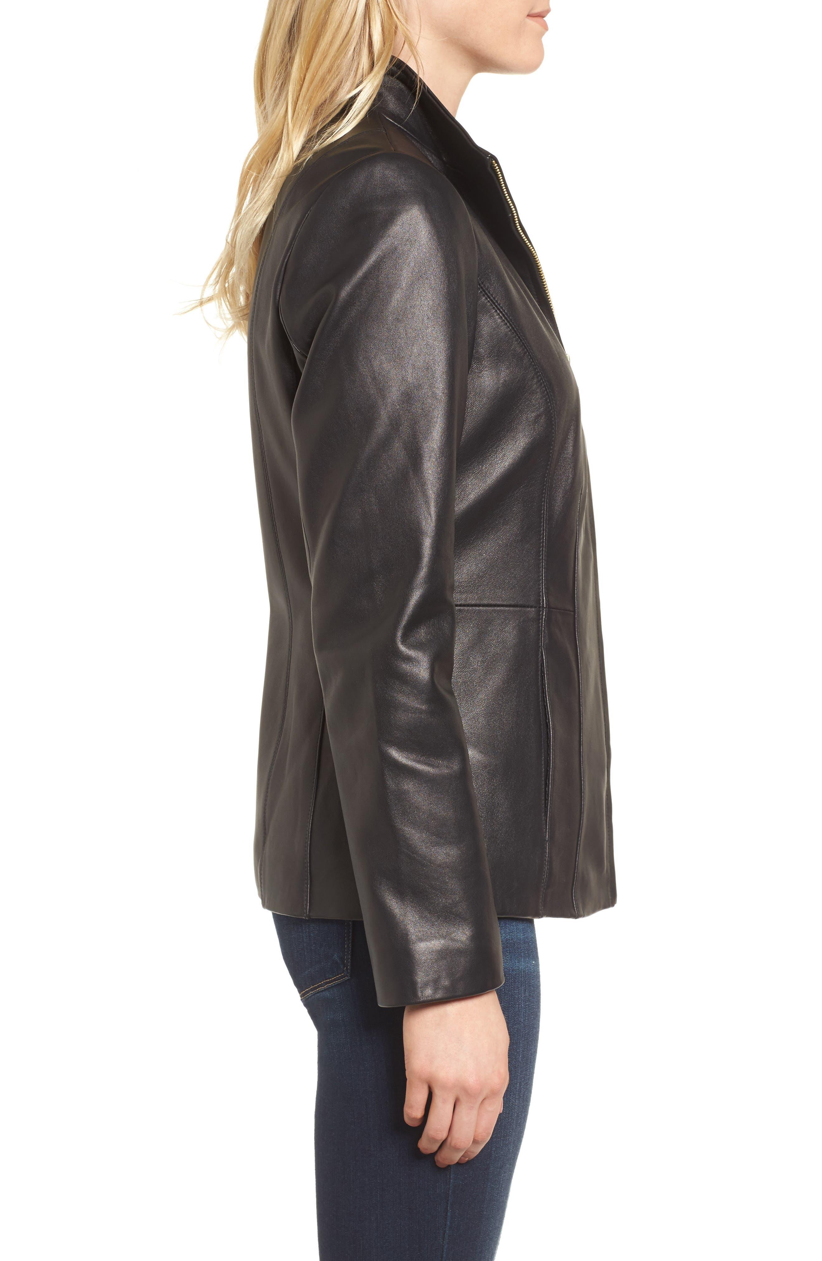 Leather Jacket,                             Alternate thumbnail 5, color,