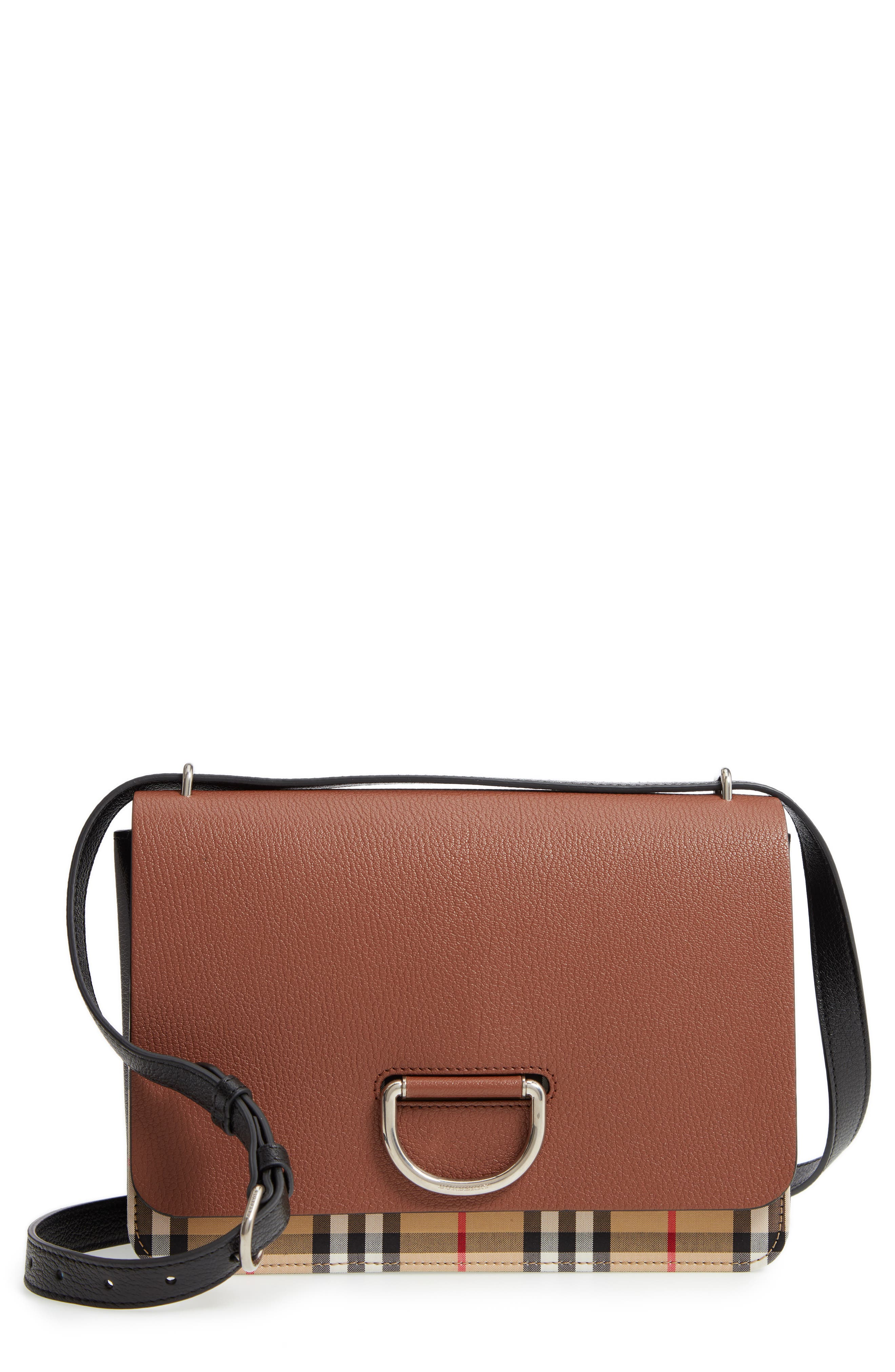 Medium D-Ring Vintage Check & Leather Crossbody Bag, Main, color, TAN/ BLACK