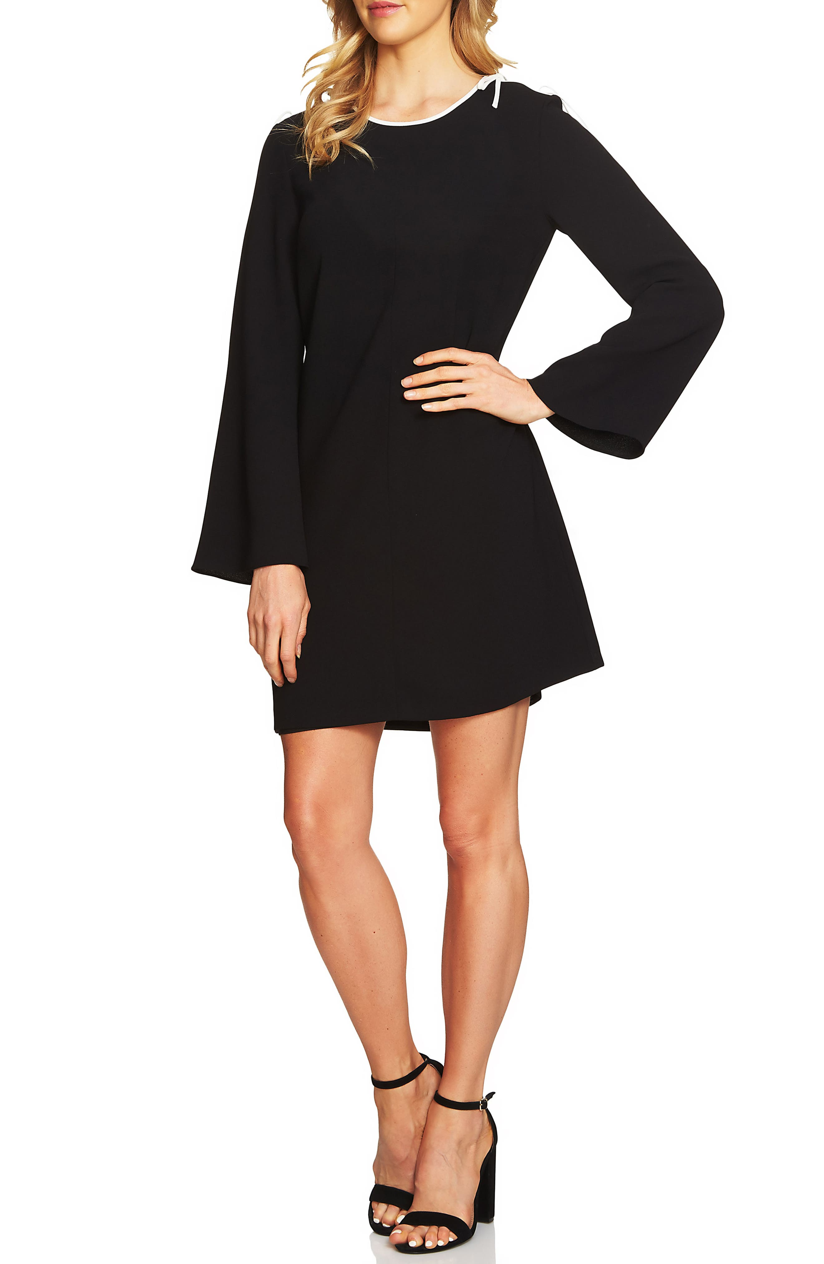Moss Tie Shoulder Bell Sleeve Shift Dress,                             Main thumbnail 1, color,                             001