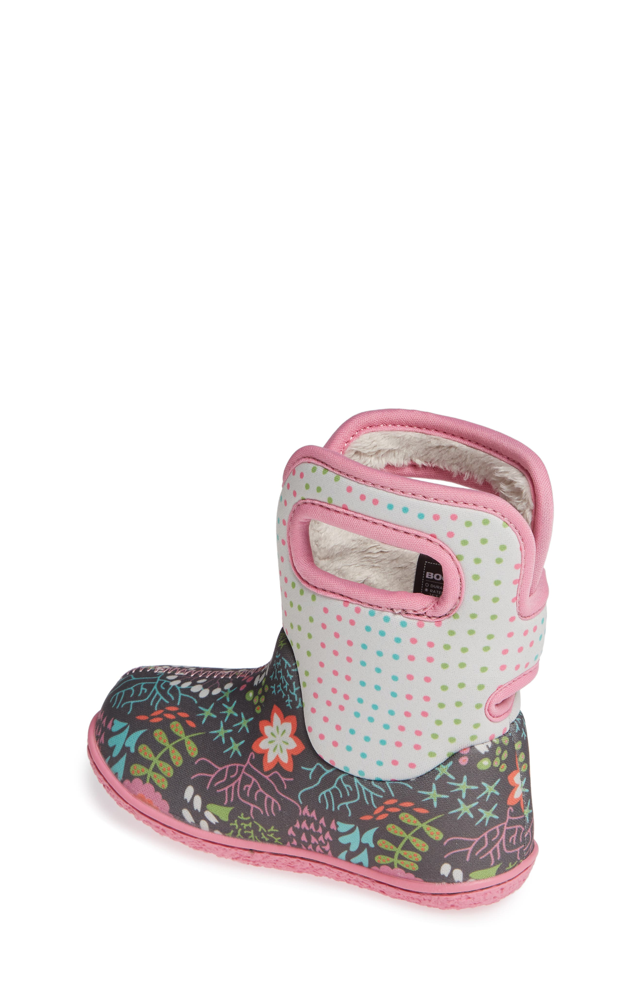 BOGS,                             Baby Bogs New Flower Dot Waterproof Boot,                             Alternate thumbnail 2, color,                             062