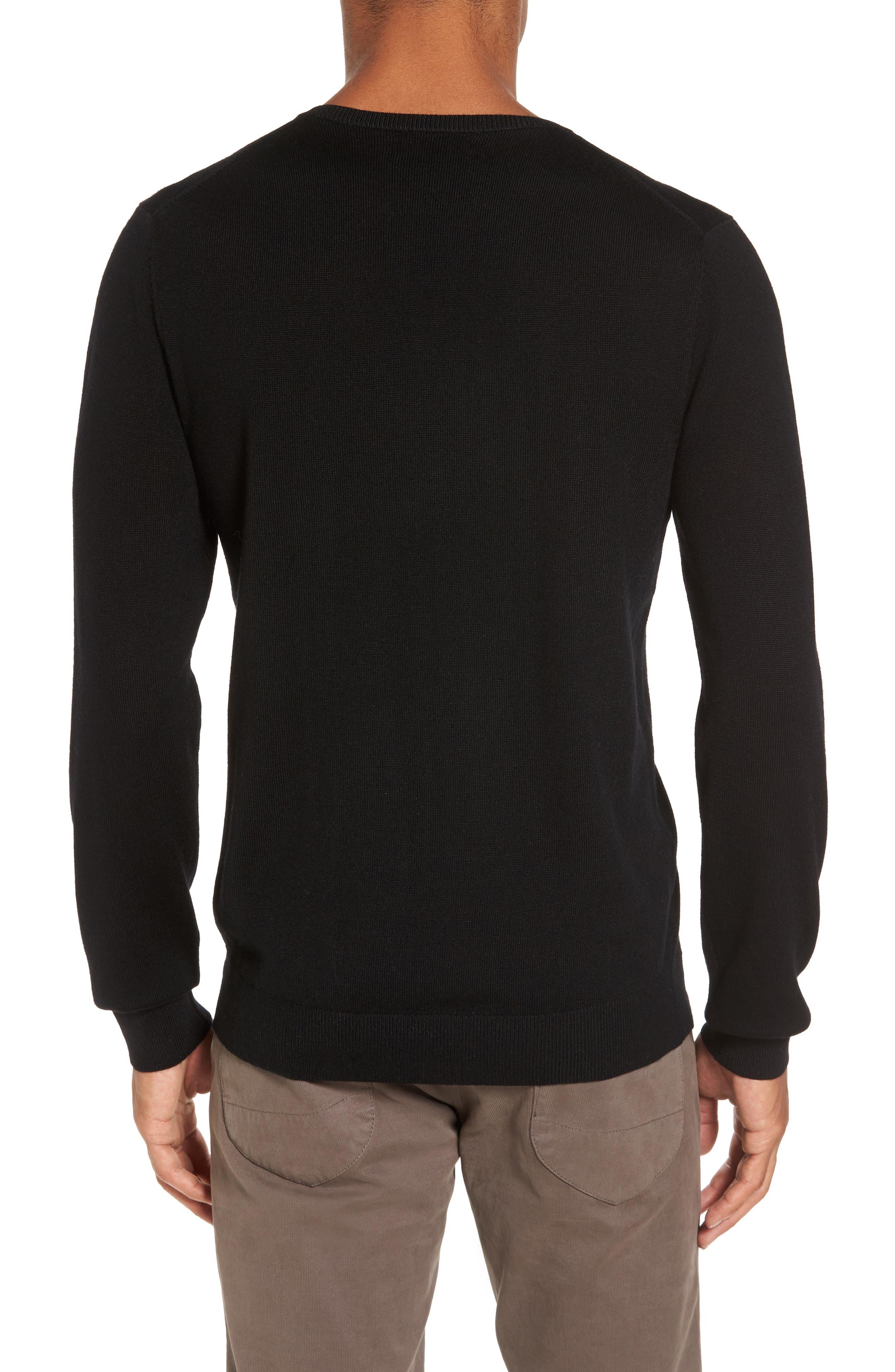 Merino V-Neck Sweater,                             Alternate thumbnail 2, color,                             001