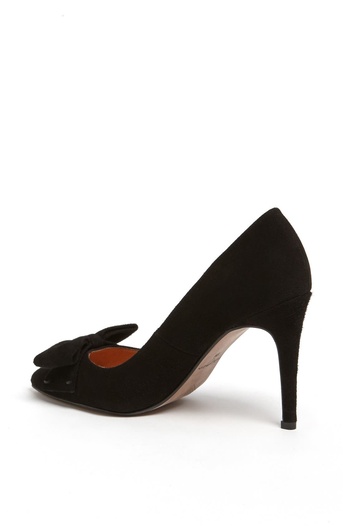HALOGEN<SUP>®</SUP>,                             'Marla' Suede Bow Pointy Toe Pump,                             Alternate thumbnail 3, color,                             019