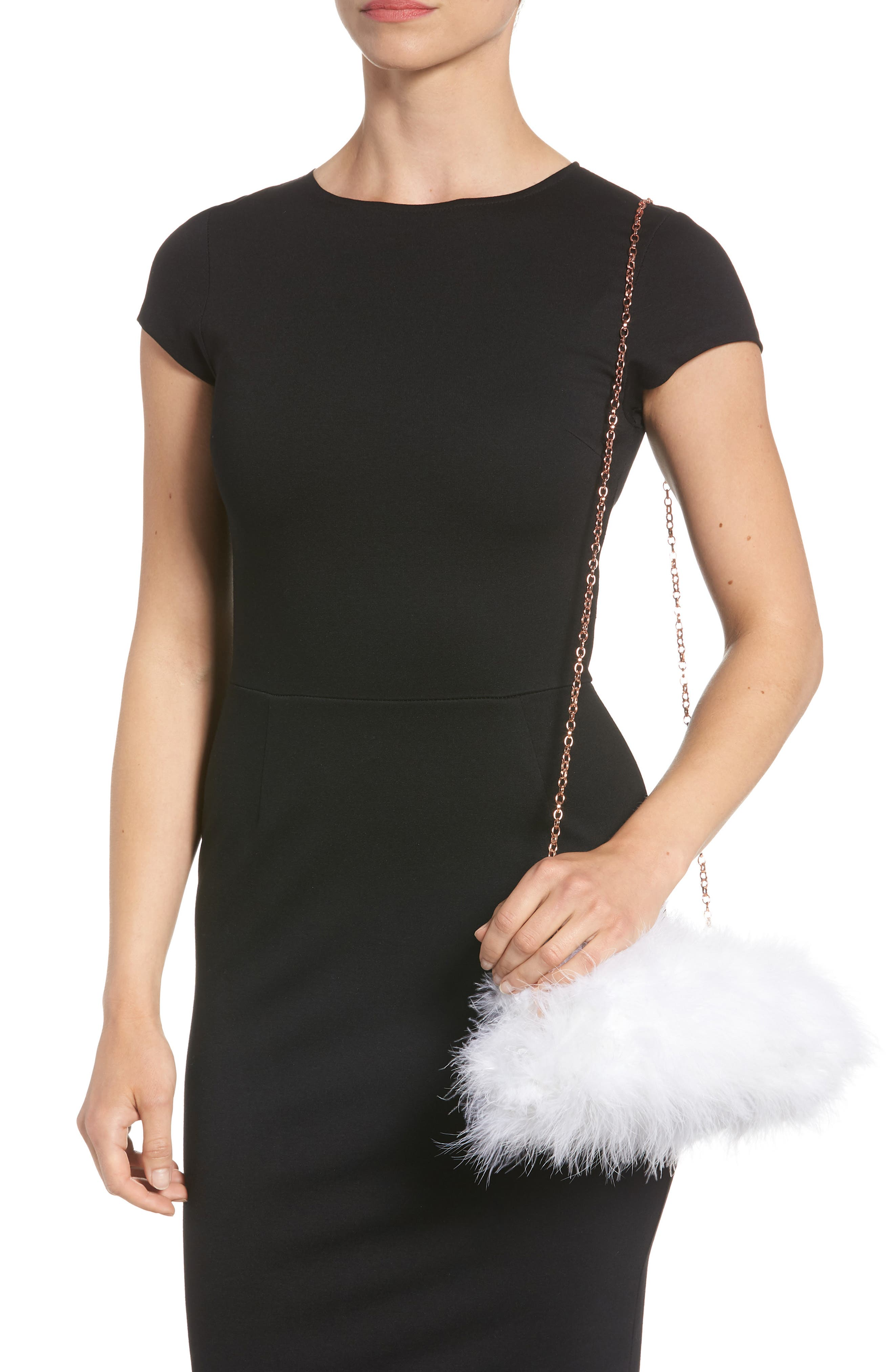 Loop Bow Feather Evening Bag,                             Alternate thumbnail 2, color,                             115