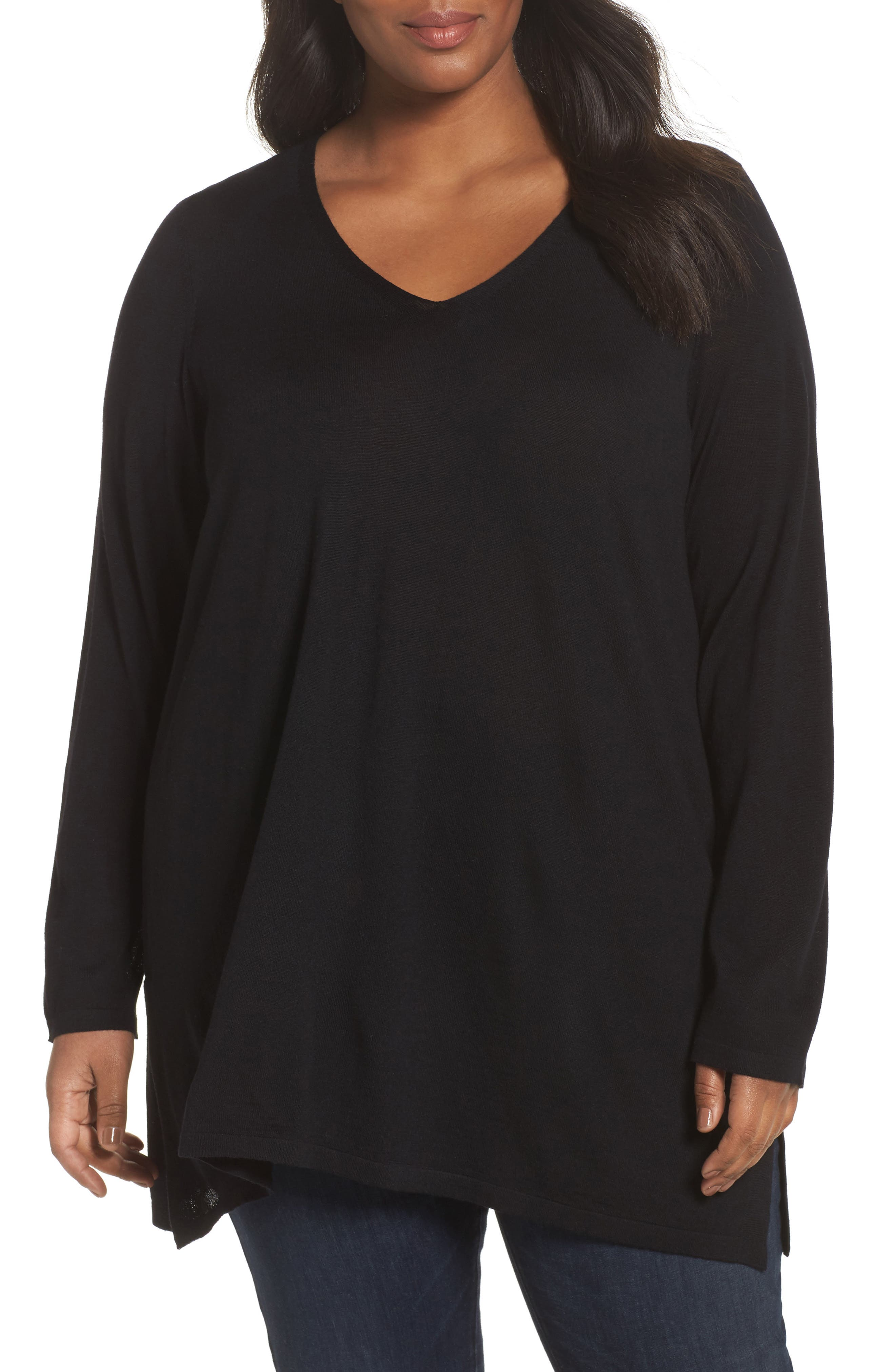 Merino Wool Tunic Sweater,                             Main thumbnail 1, color,                             001
