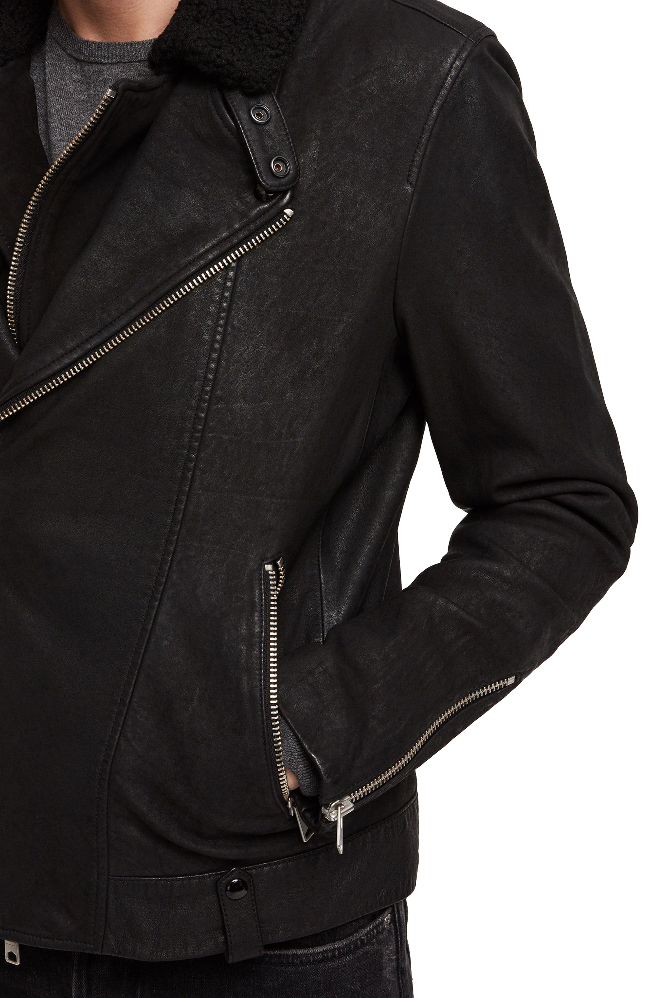 Hanoi Regular Fit Genuine Lambskin Shearling Trim Leather Biker Jacket,                             Alternate thumbnail 4, color,                             001