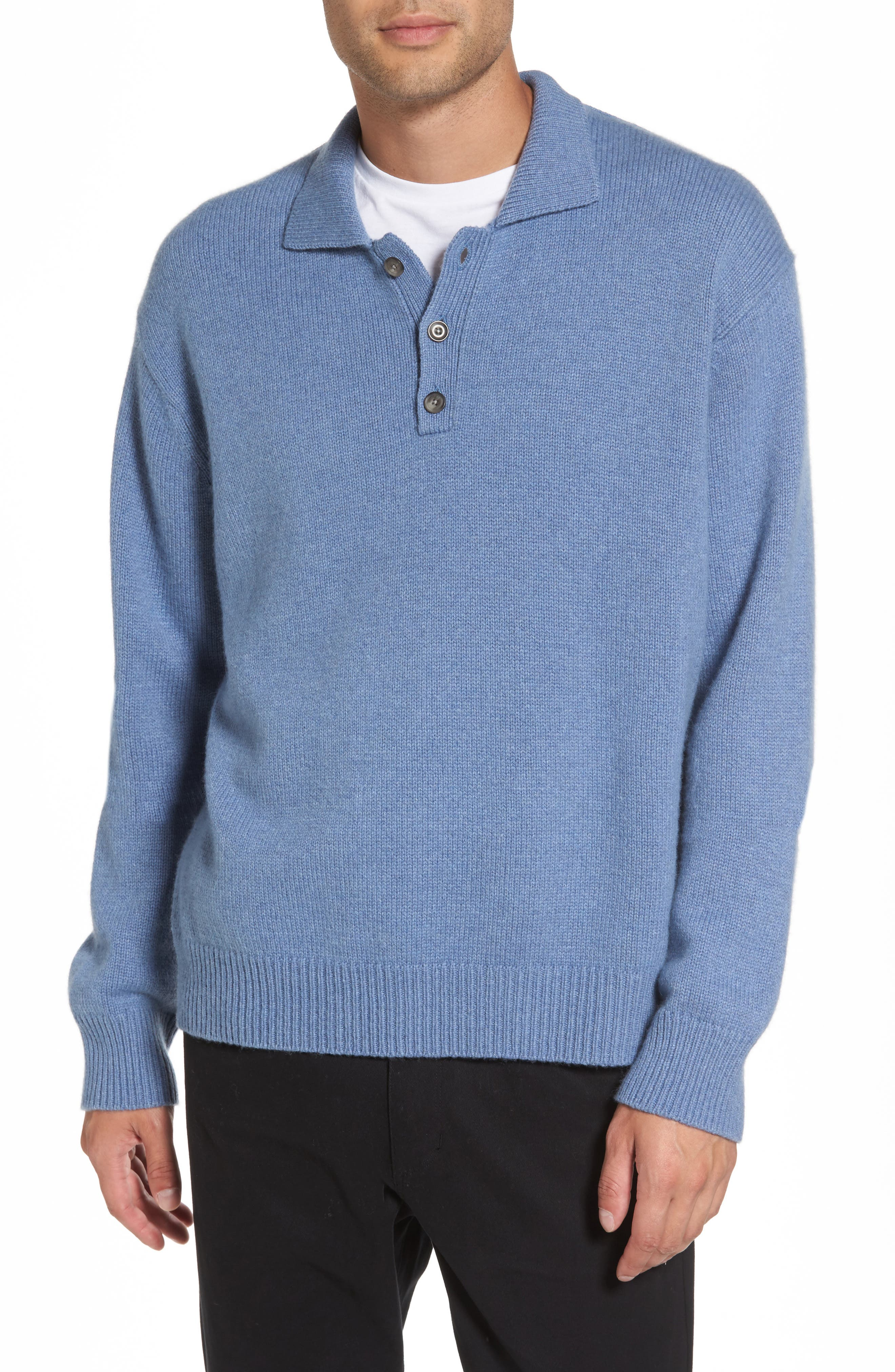 Wool & Cashmere Polo Sweater,                             Main thumbnail 1, color,                             495