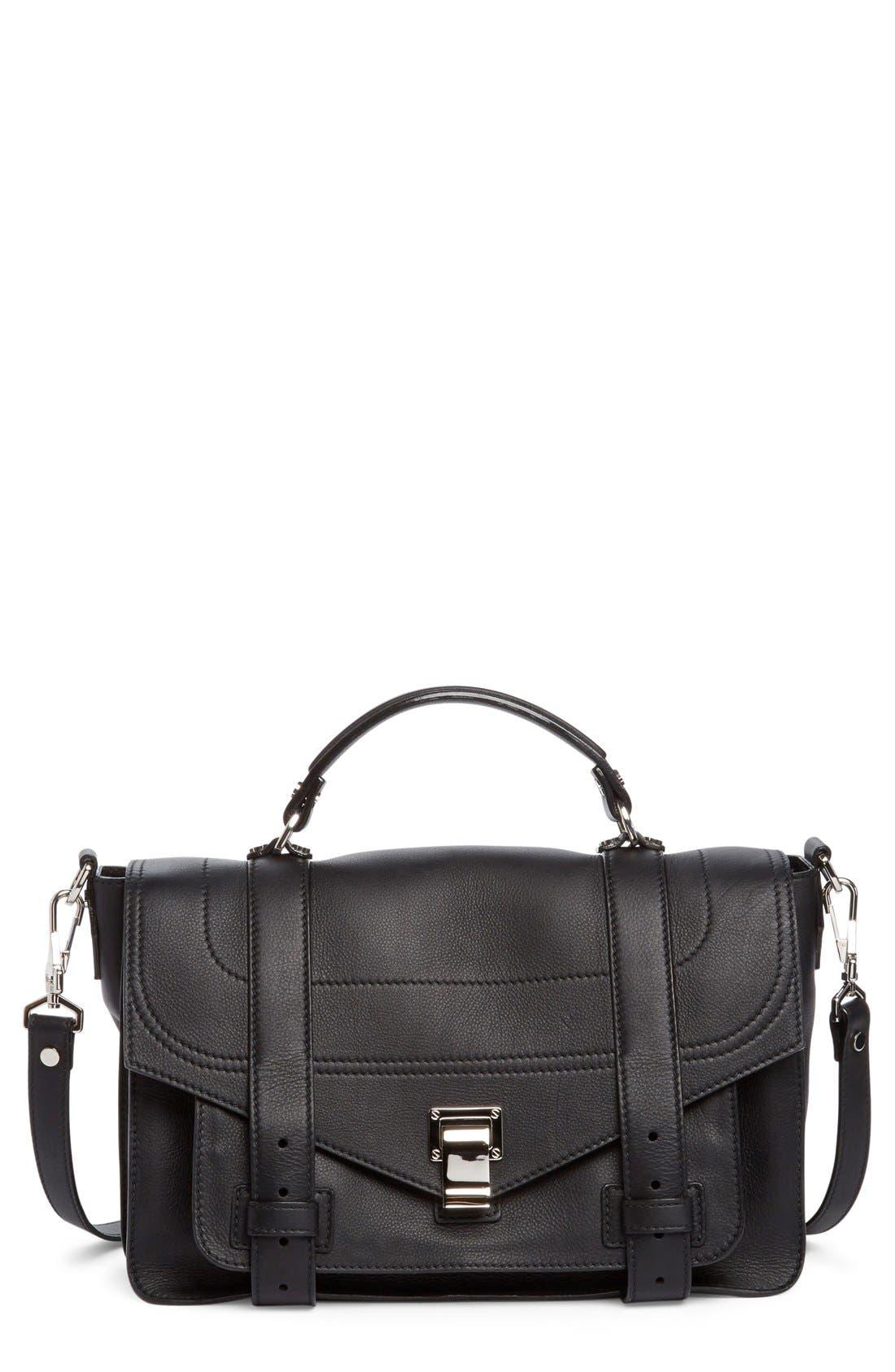 Medium PS1+ Grainy Leather Satchel,                         Main,                         color, 001
