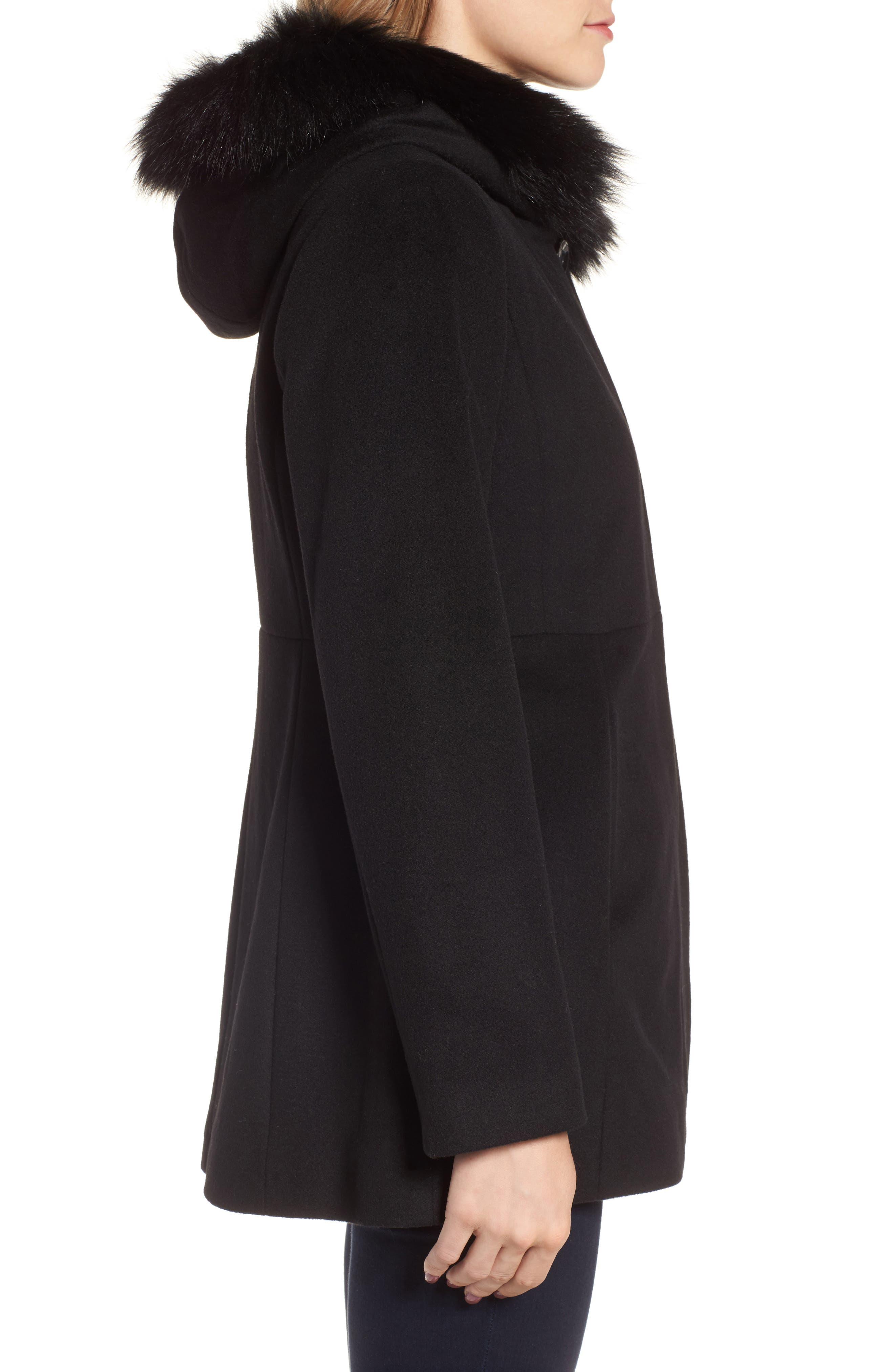 Genuine Fox Fur Trim Hooded Wool Blend Coat,                             Alternate thumbnail 4, color,                             001