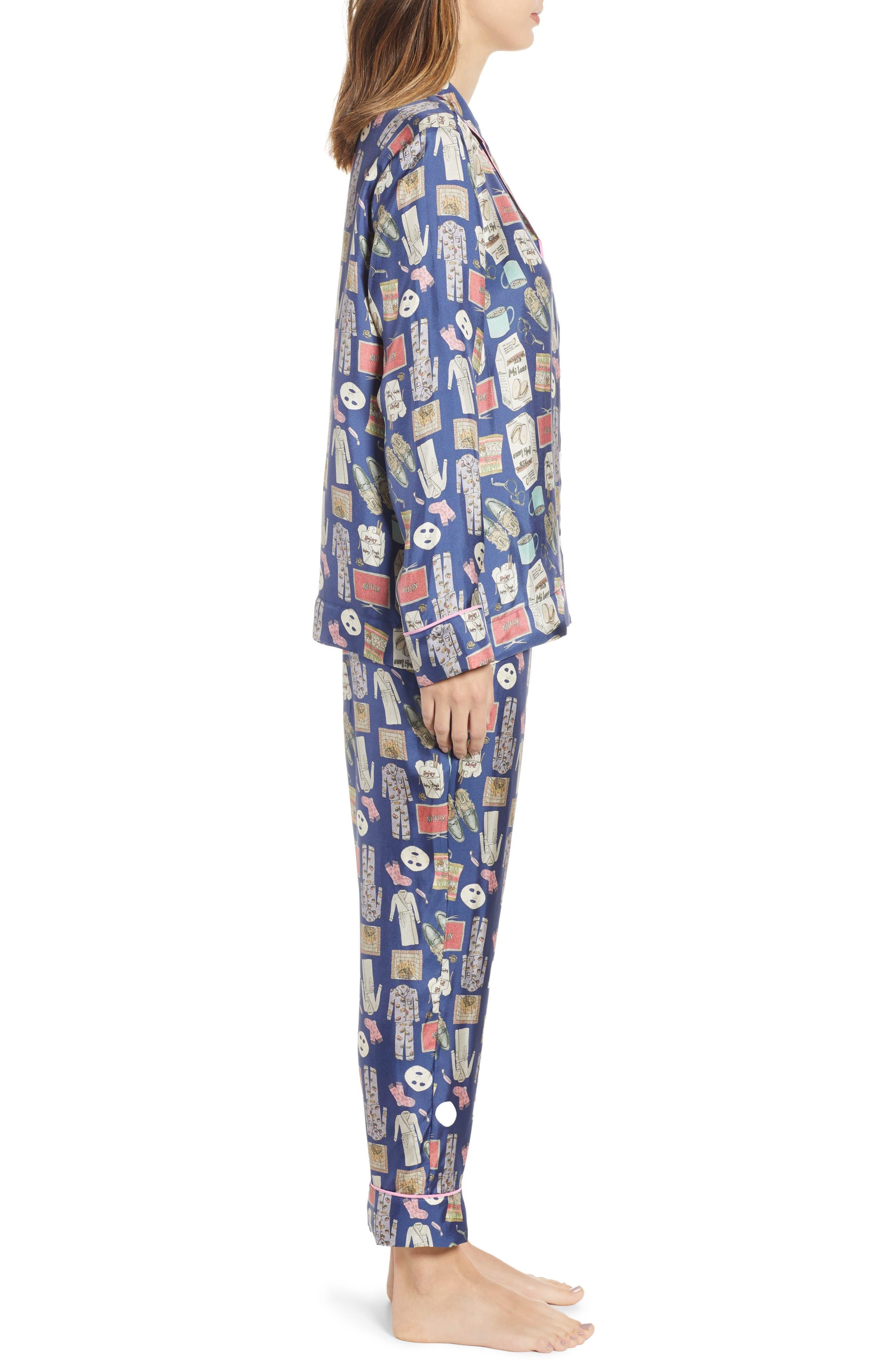Netflix & Chill Silk Blend Pajamas & Eye Mask,                             Alternate thumbnail 3, color,                             BLUE