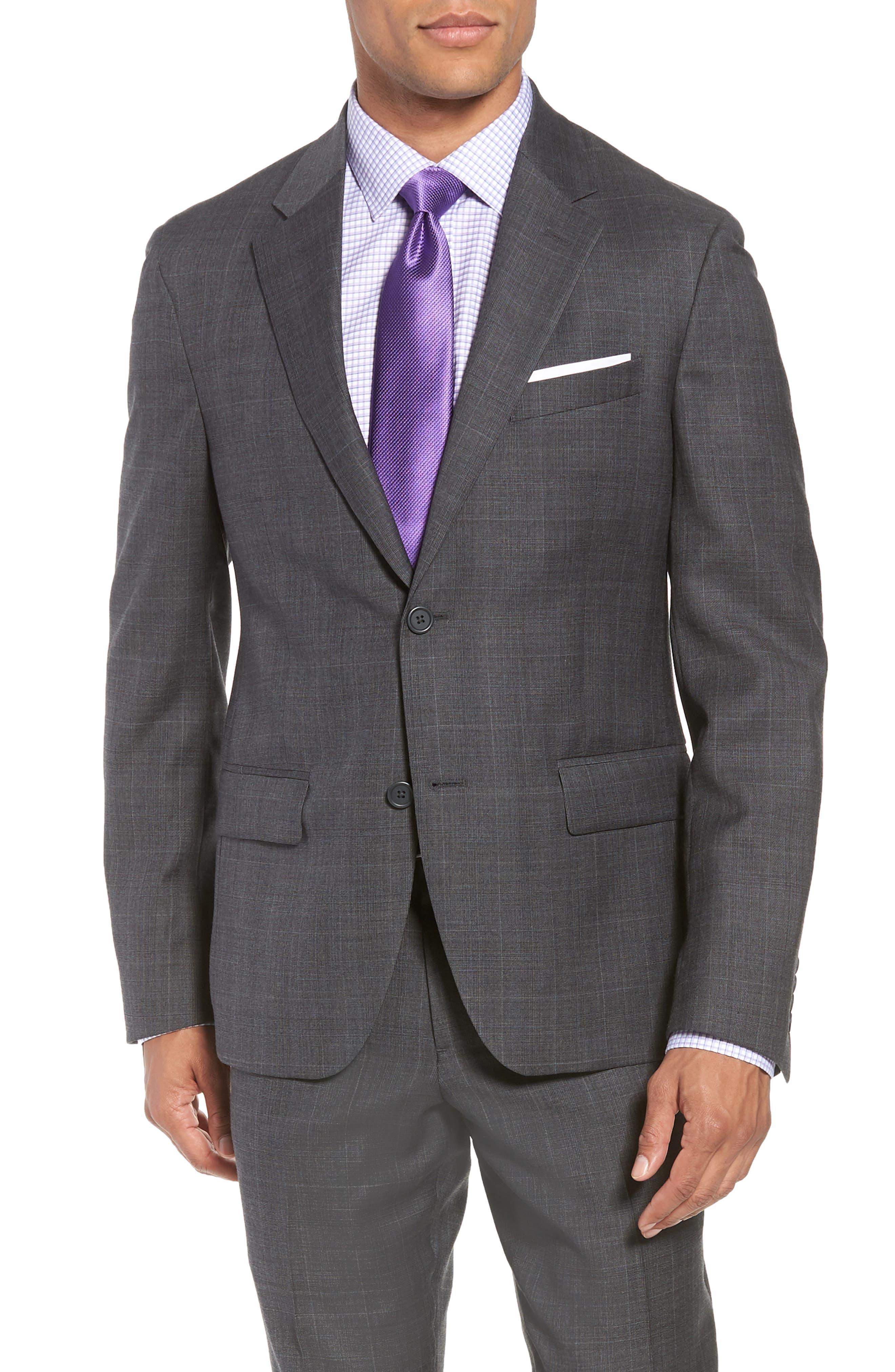 Trim Fit Plaid Wool Suit,                             Alternate thumbnail 5, color,                             010