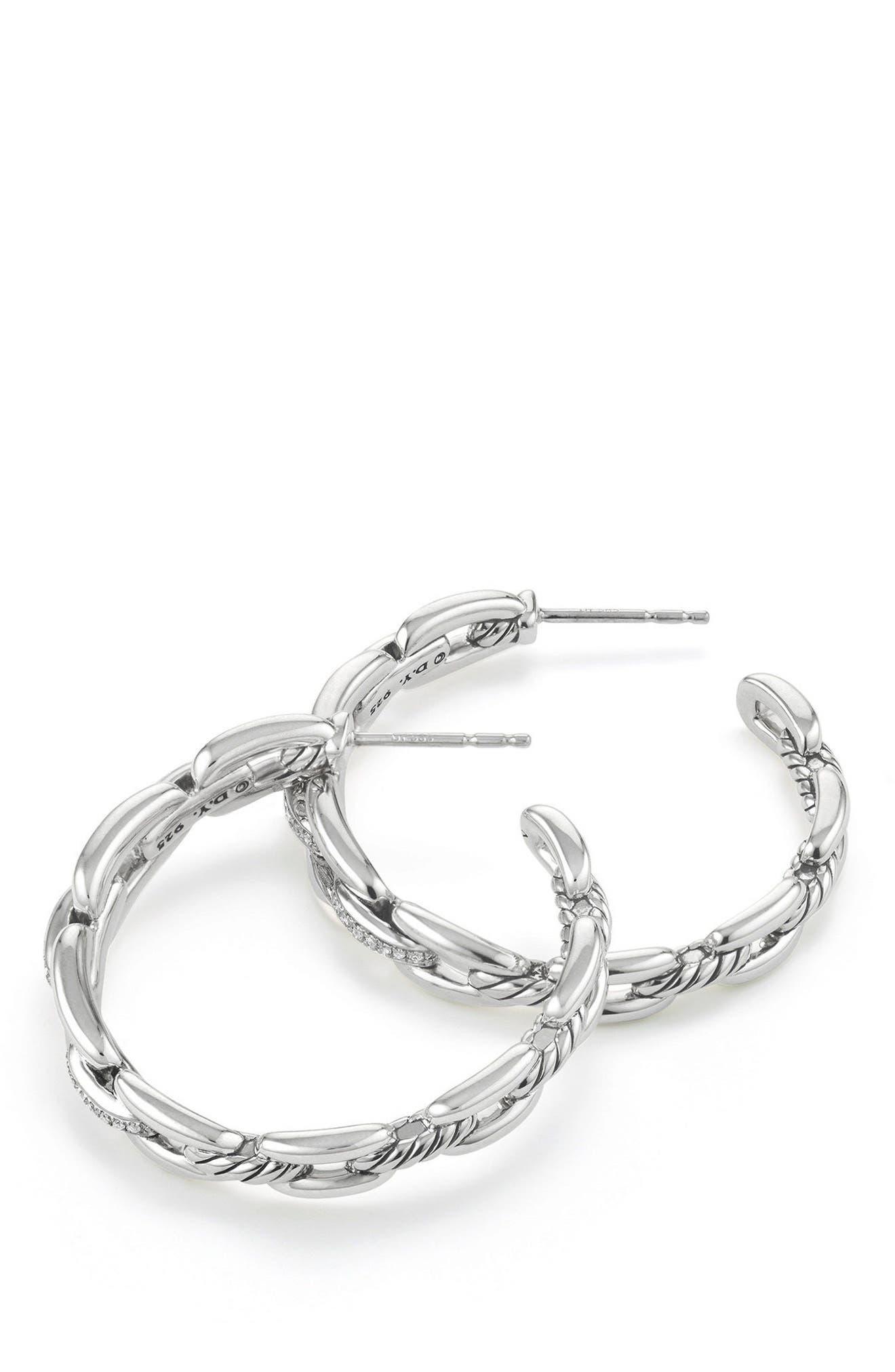 Wellesley 23mm Hoop Earrings with Diamonds,                             Alternate thumbnail 2, color,                             SILVER