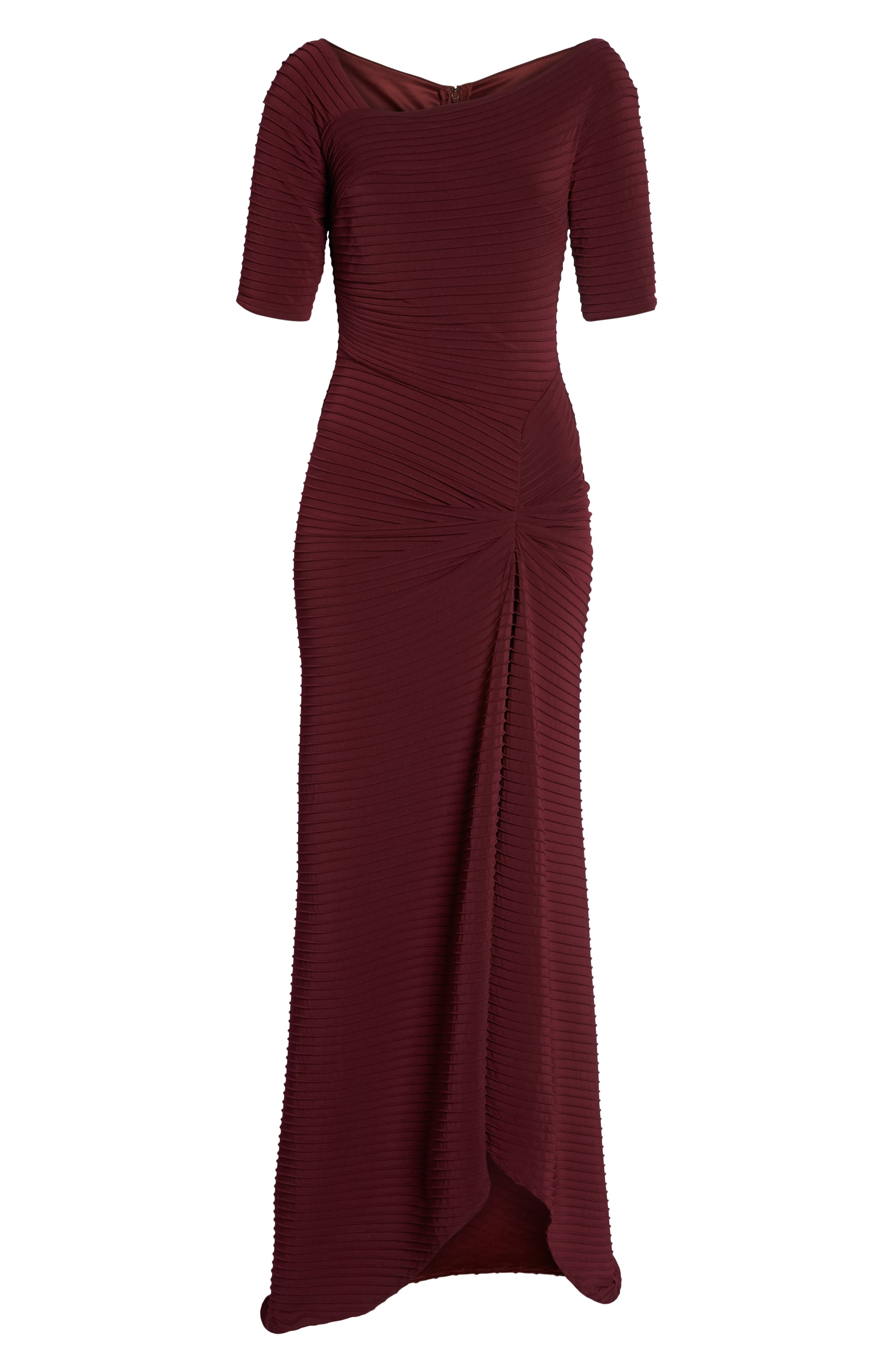 Pintuck Pleat Jersey Gown,                             Alternate thumbnail 7, color,                             WINE
