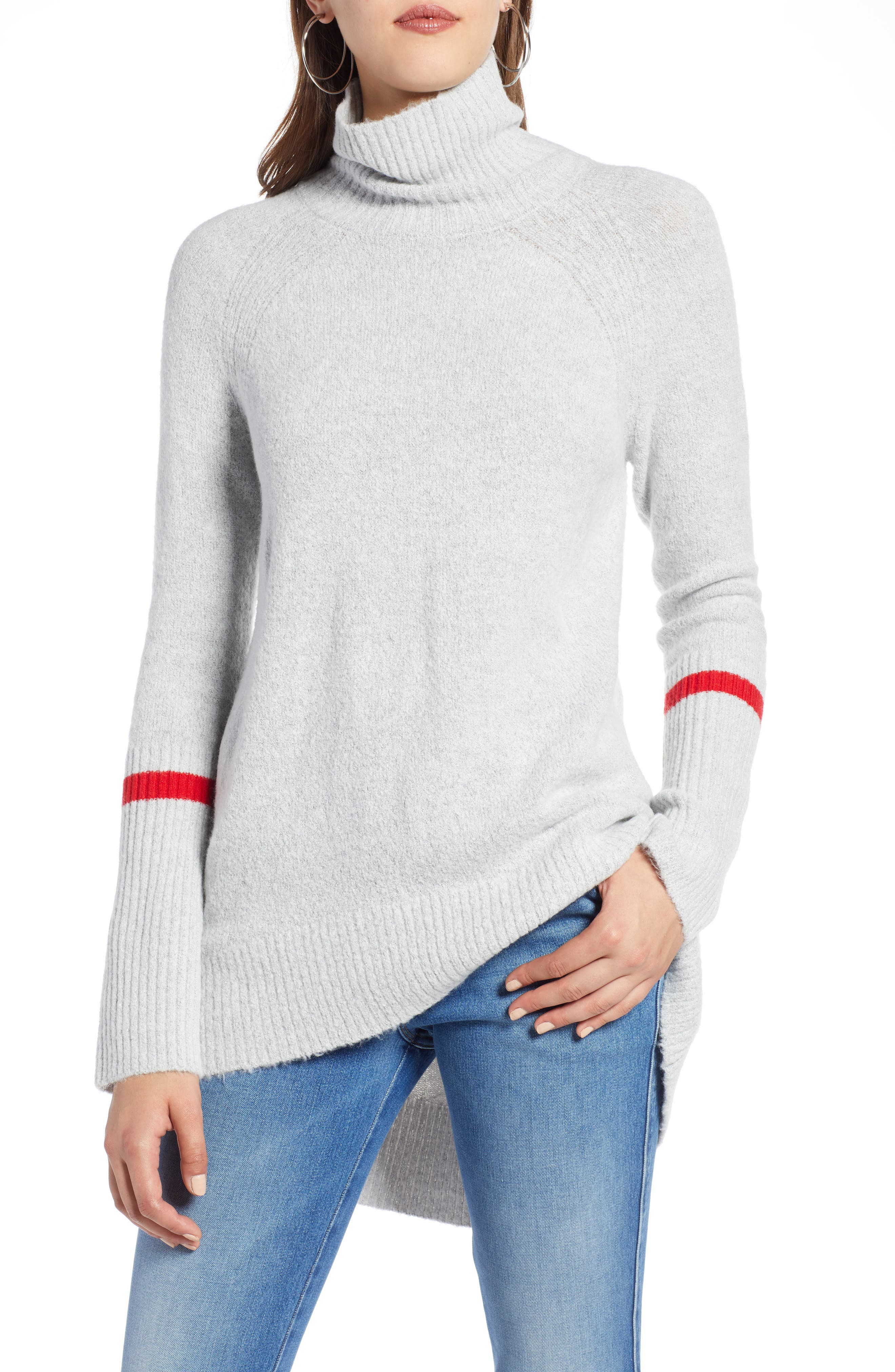 High Low Oversize Wool Blend Sweater,                             Main thumbnail 1, color,                             GREY HEATHER- RED