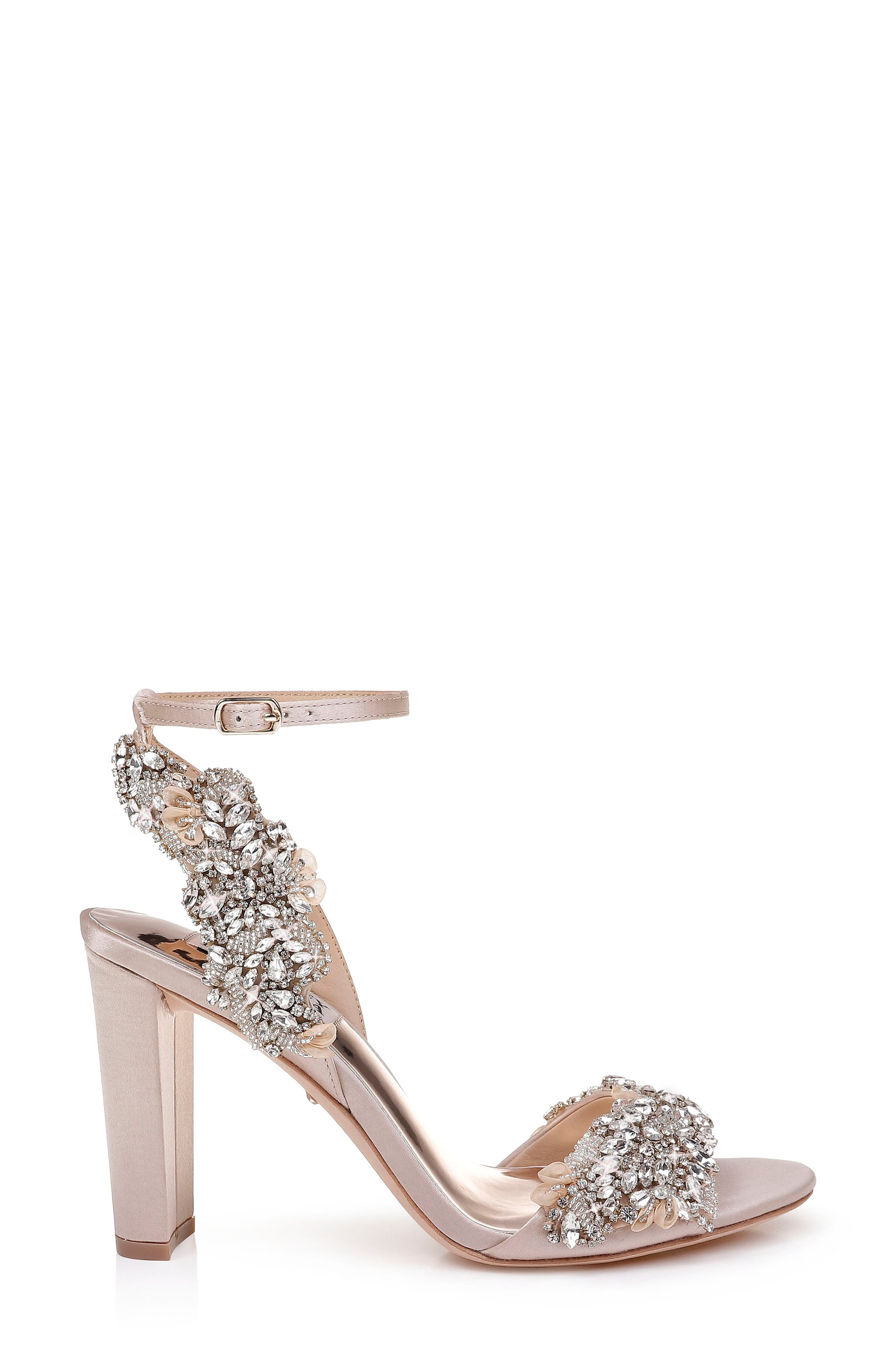 Badgley Mischka Libby Ankle Strap Sandal,                             Alternate thumbnail 3, color,                             NUDE SATIN
