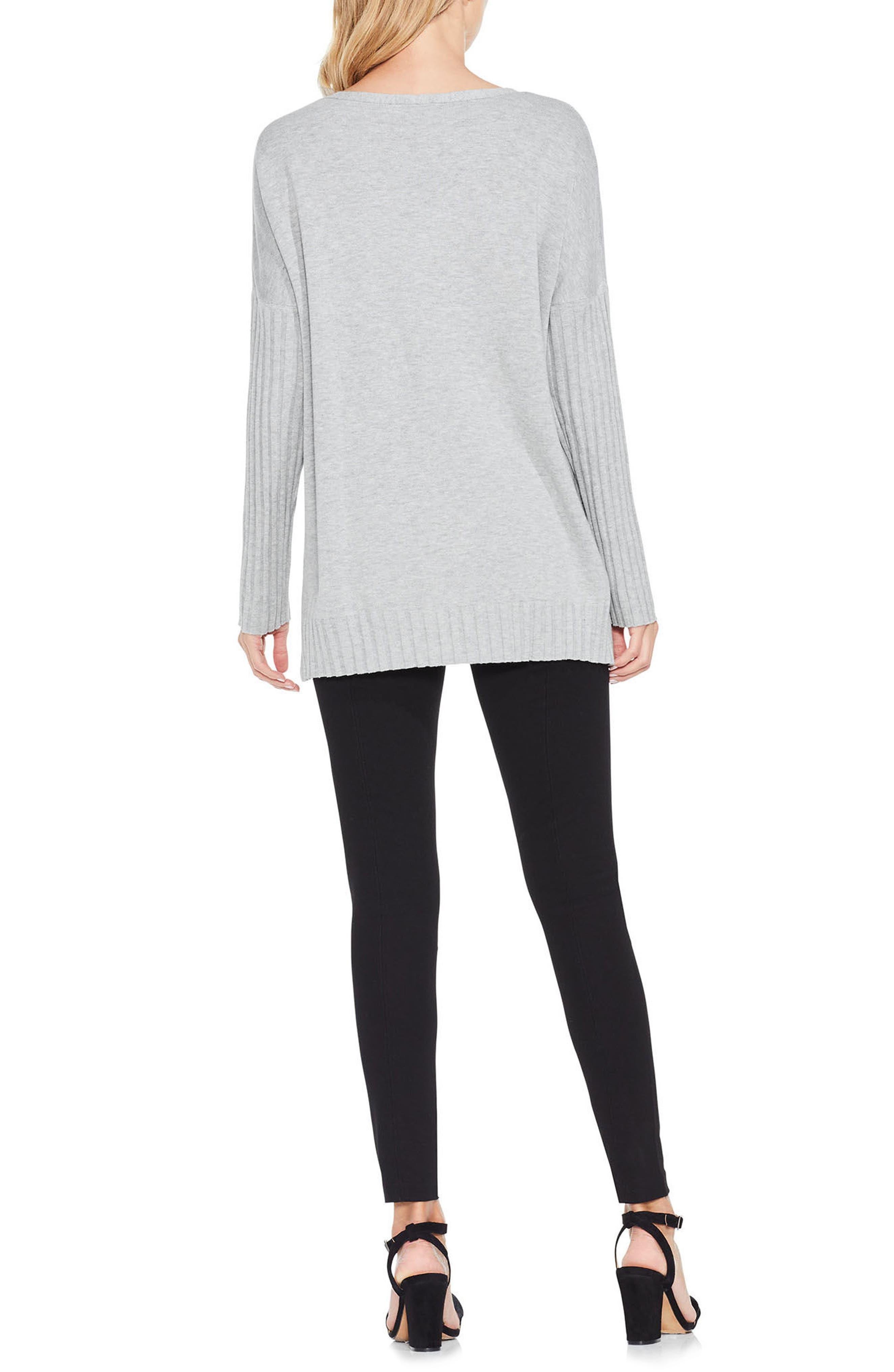 Ribbed Sleeve Sweater,                             Alternate thumbnail 6, color,