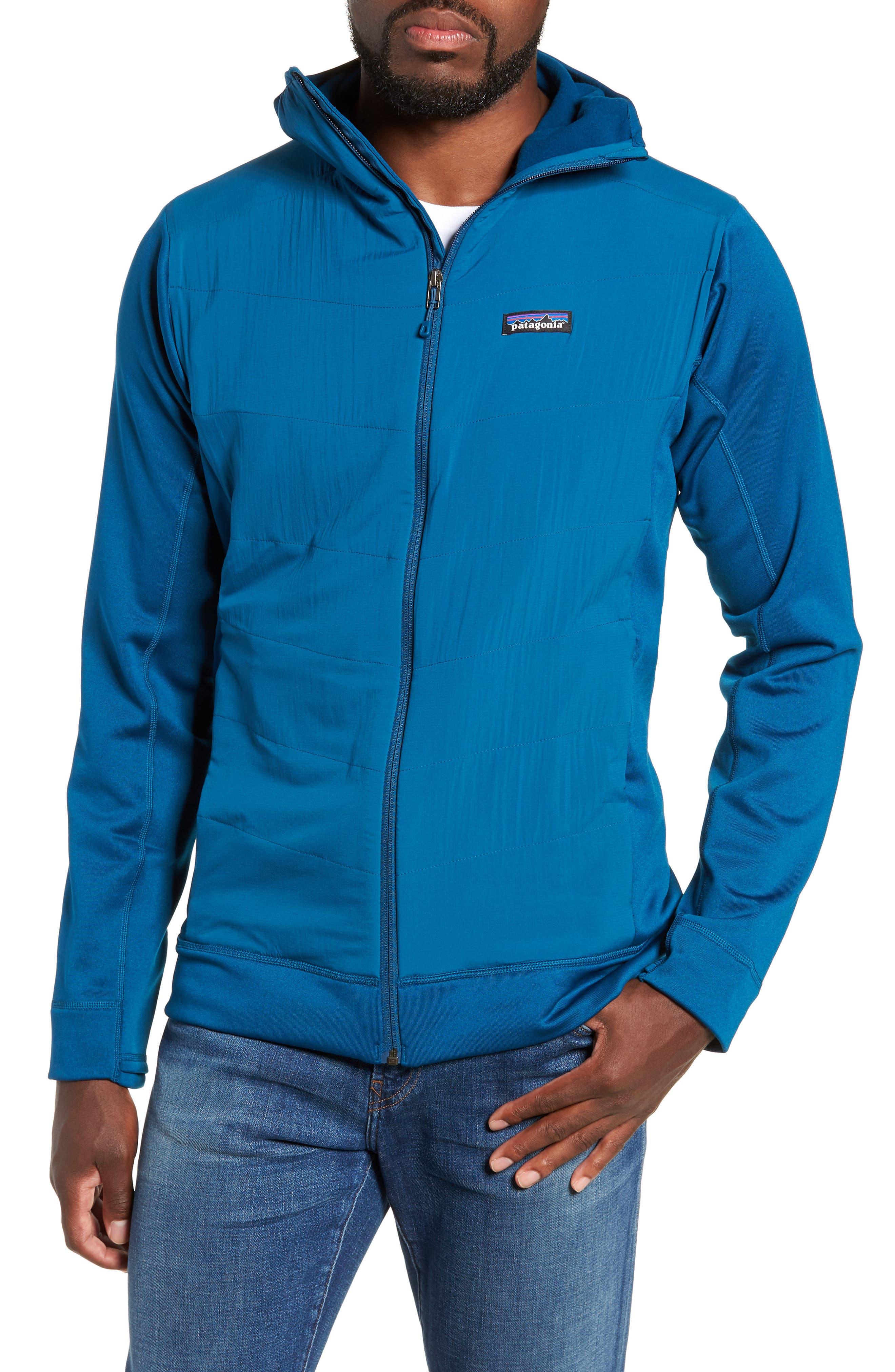 PATAGONIA Crosstek Hybrid Hooded Jacket in Big Sur Blue/ Balkan Blue