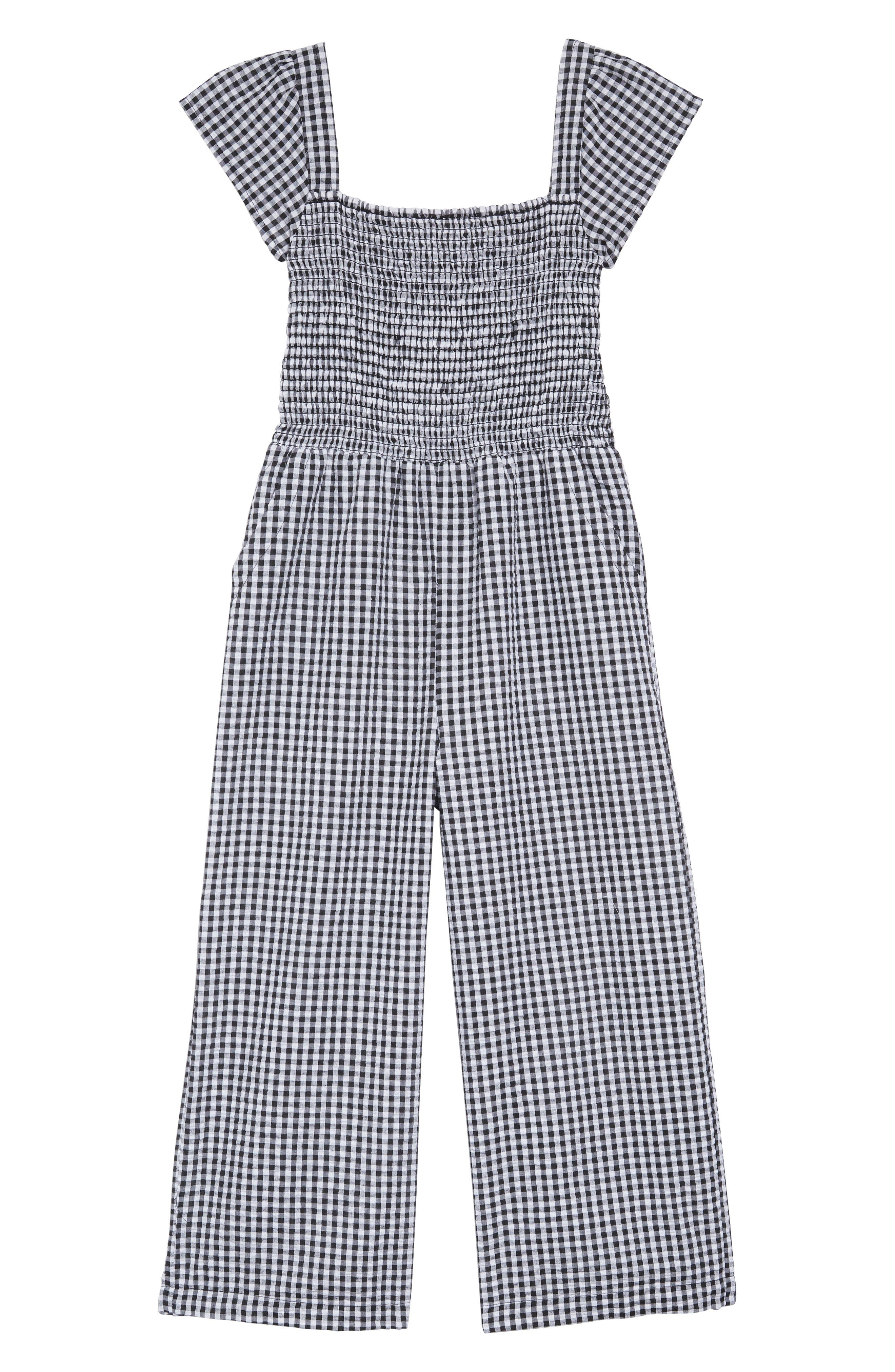 Girls Tucker  Tate Boardwalk Smocked Gingham Jumpsuit Size L (1012)  Black