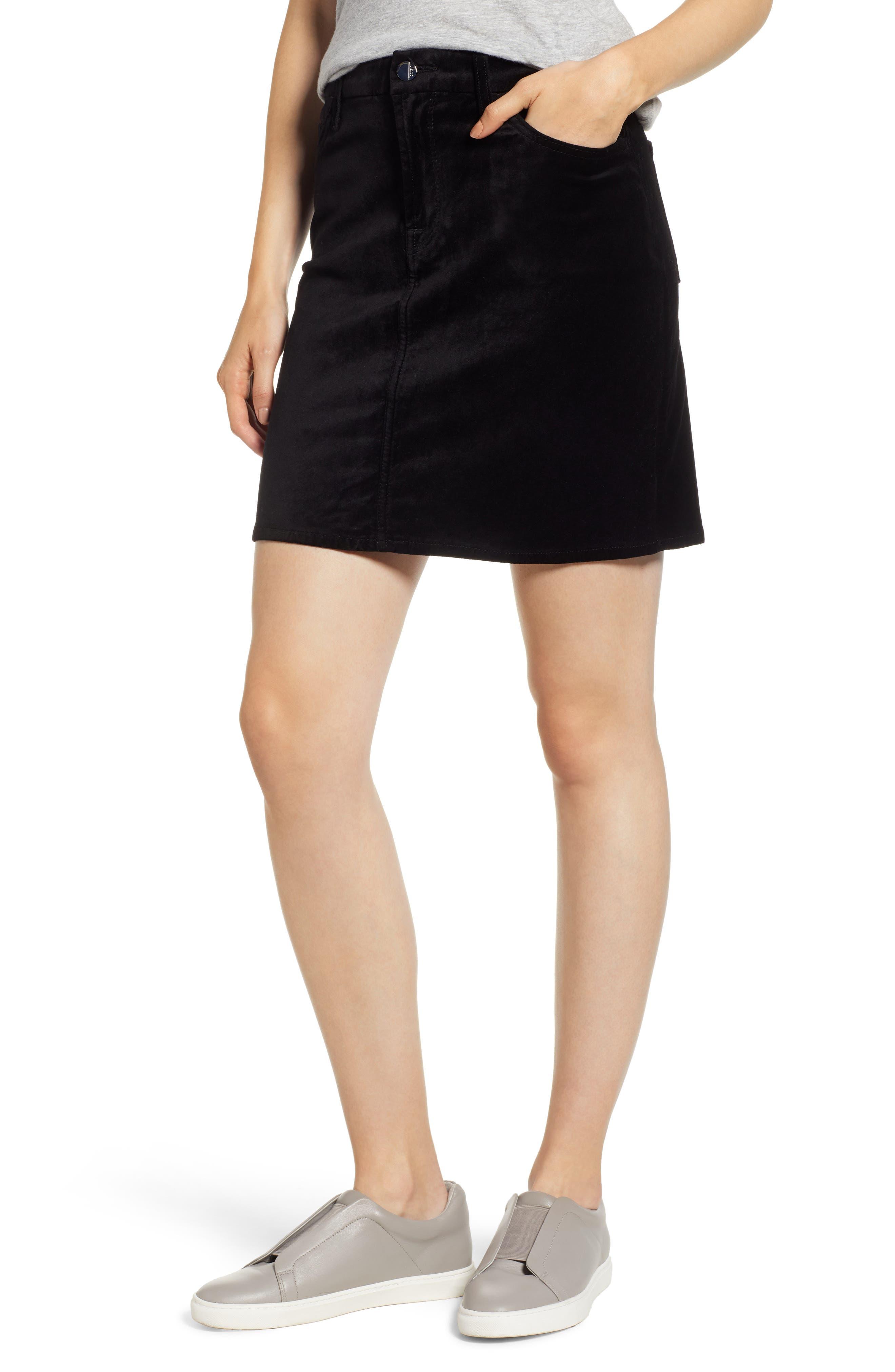 JEN7 BY 7 FOR ALL MANKIND Stretch Velvet Straight Mini Skirt in Black
